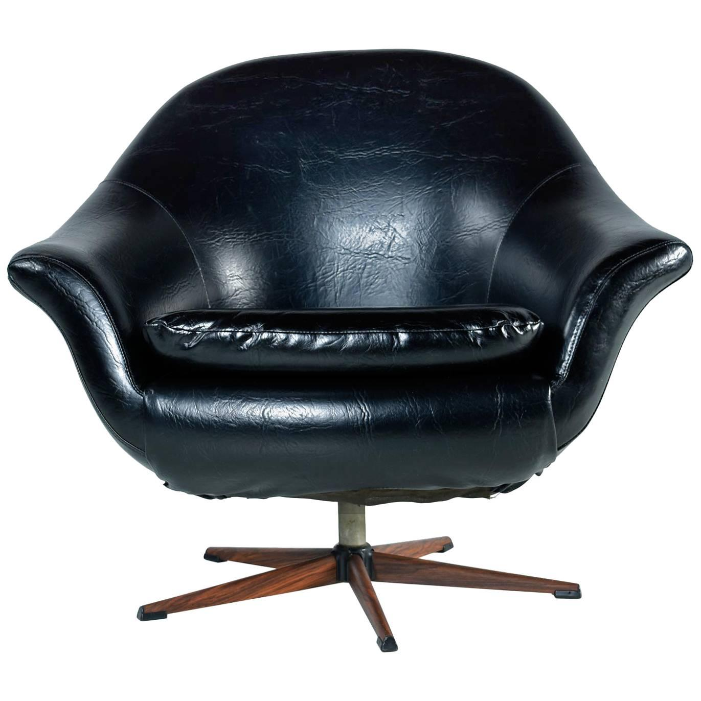 swivel pod chair kitchen table with bench seating and chairs mid century modern black vinyl rosewood base by burris for sale