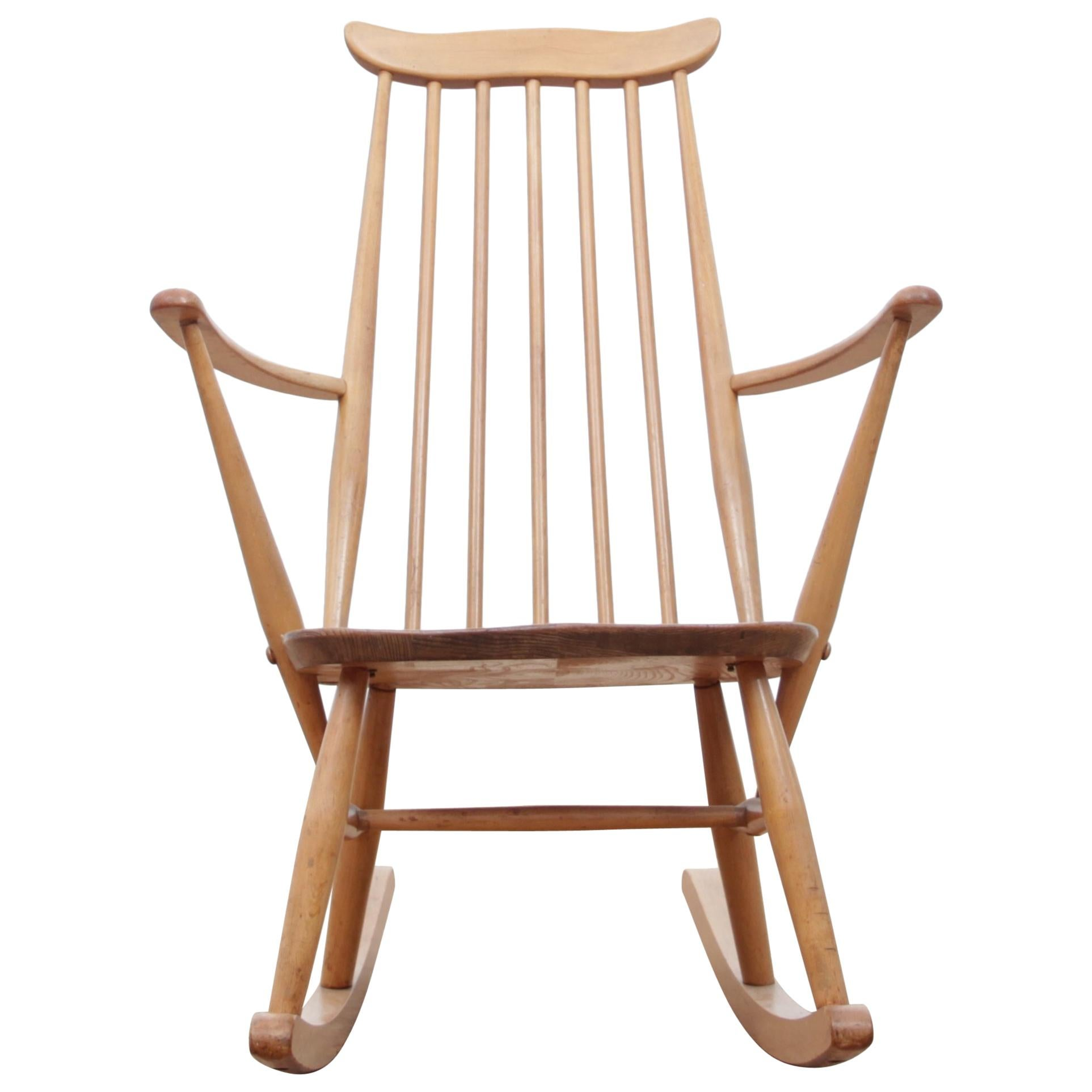 Child Wooden Rocking Chair Rare Antique Rocking Chair For Children American Rocker For Child Or Toy Bear