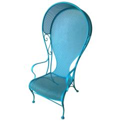 Lawn Chair With Canopy Baby That Vibrates Mid Century Modern Russell Woodard Patio In Blue For Sale