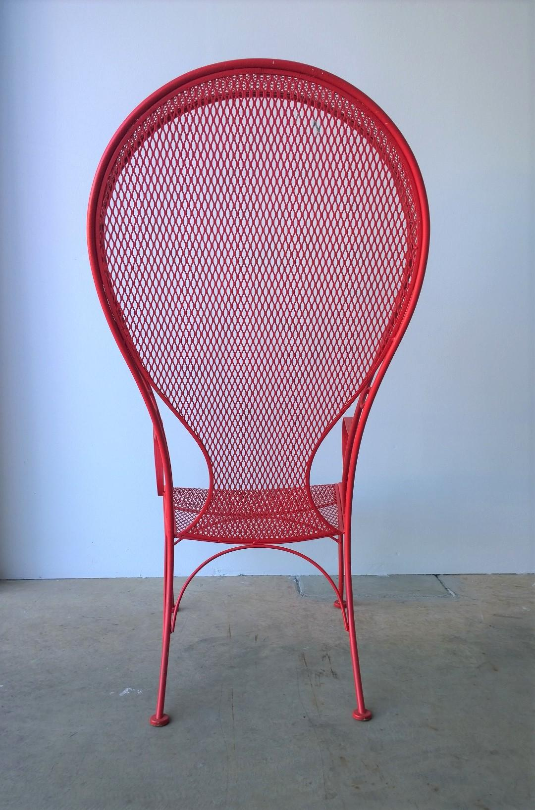 Red Patio Chairs Mid Century Modern Russell Woodard Canopy Patio Chair In Red