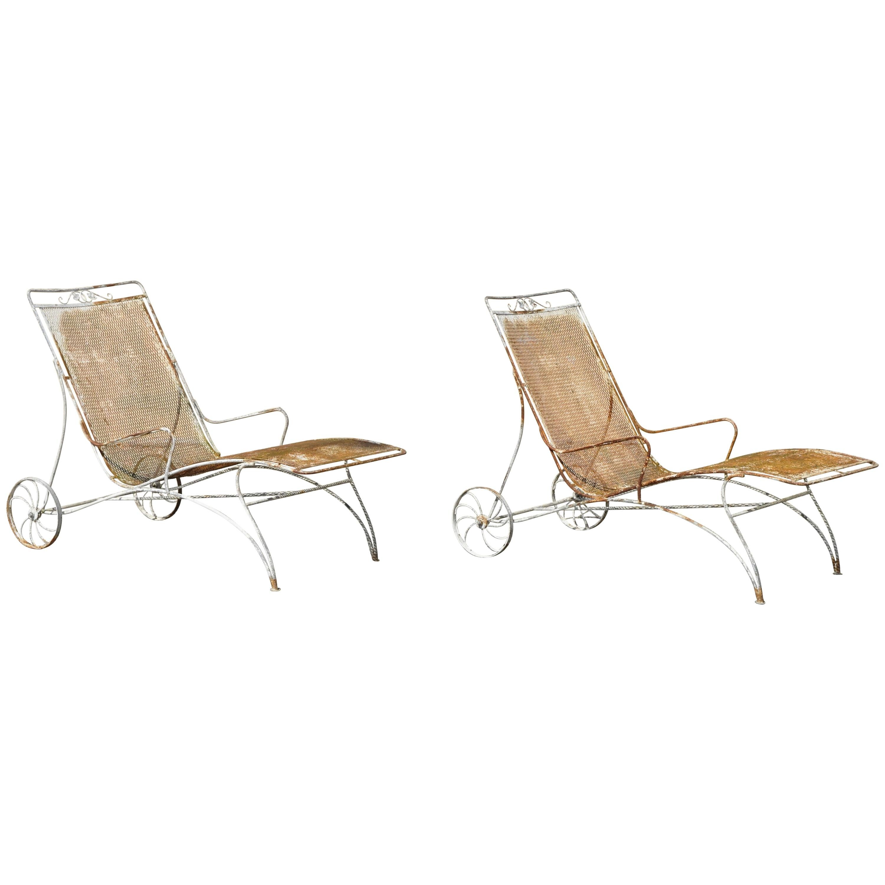 mid century modern russell woodard wrought iron patio chaise lounge chair pair