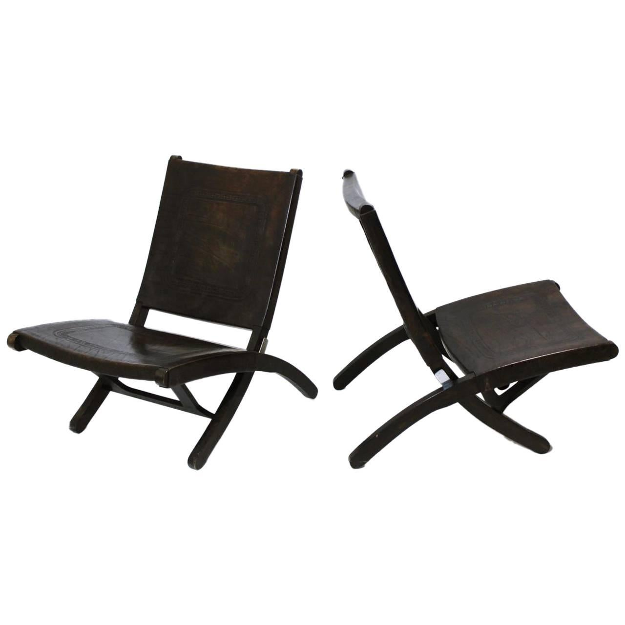 Folding Lounge Chair Mid Century Modern Tooled Leather Folding Lounge Chair 1970