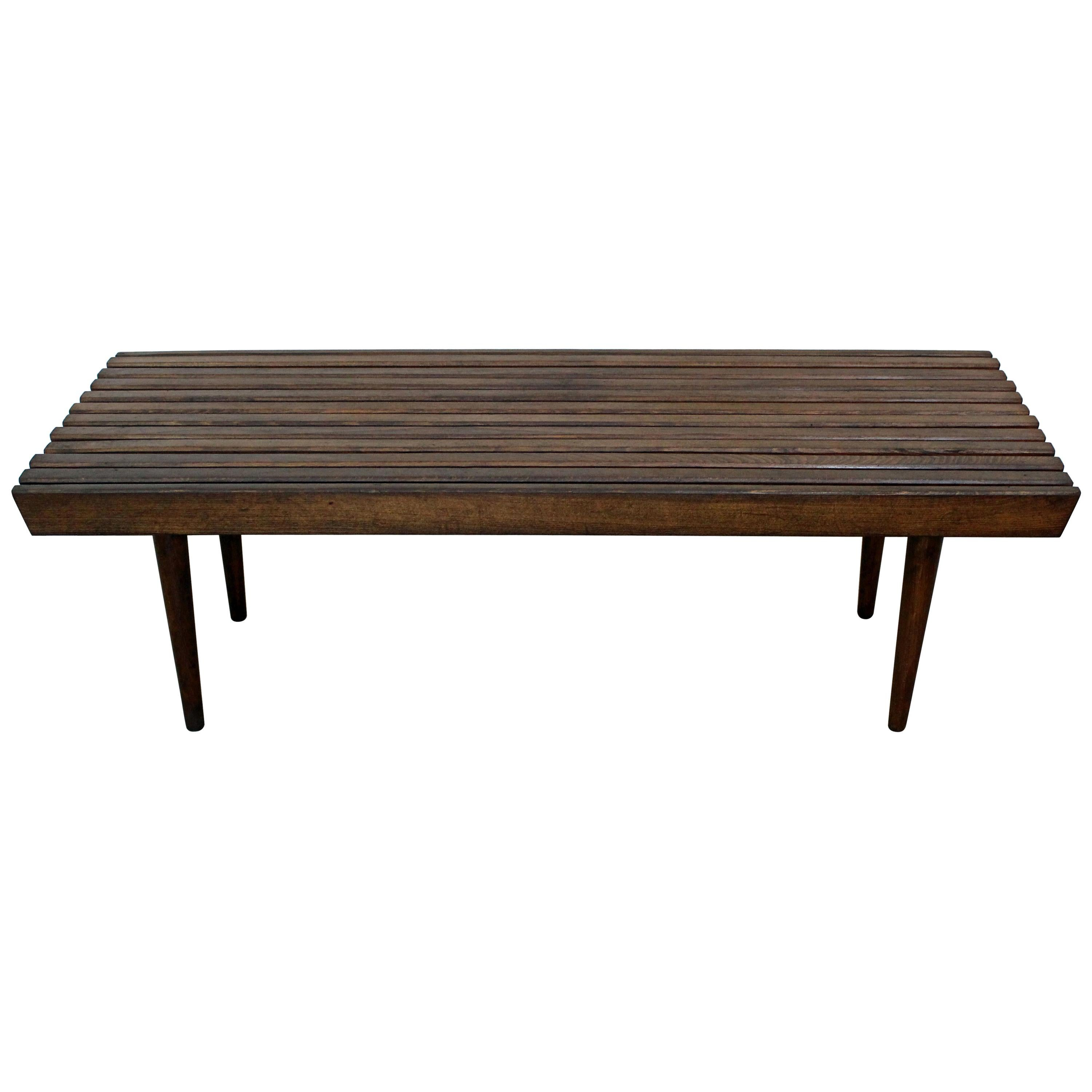 Mid Century Modern Walnut Slat Bench Coffee Table At 1stdibs