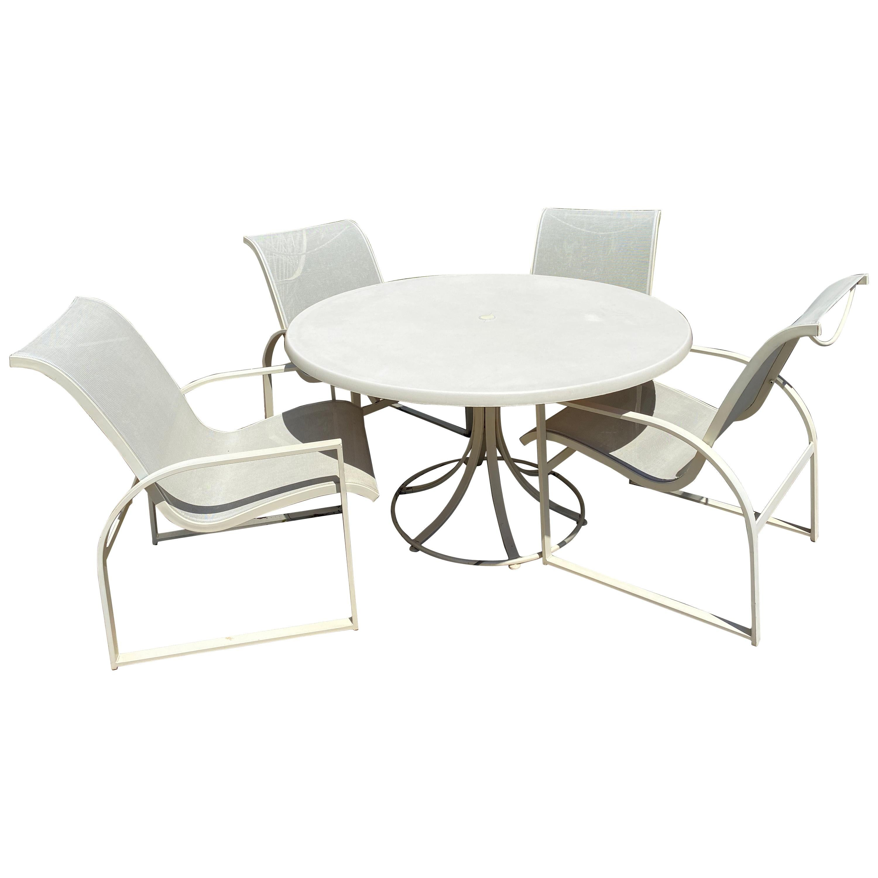 mid century modern woodard margarita patio dining set table 4 curved chairs
