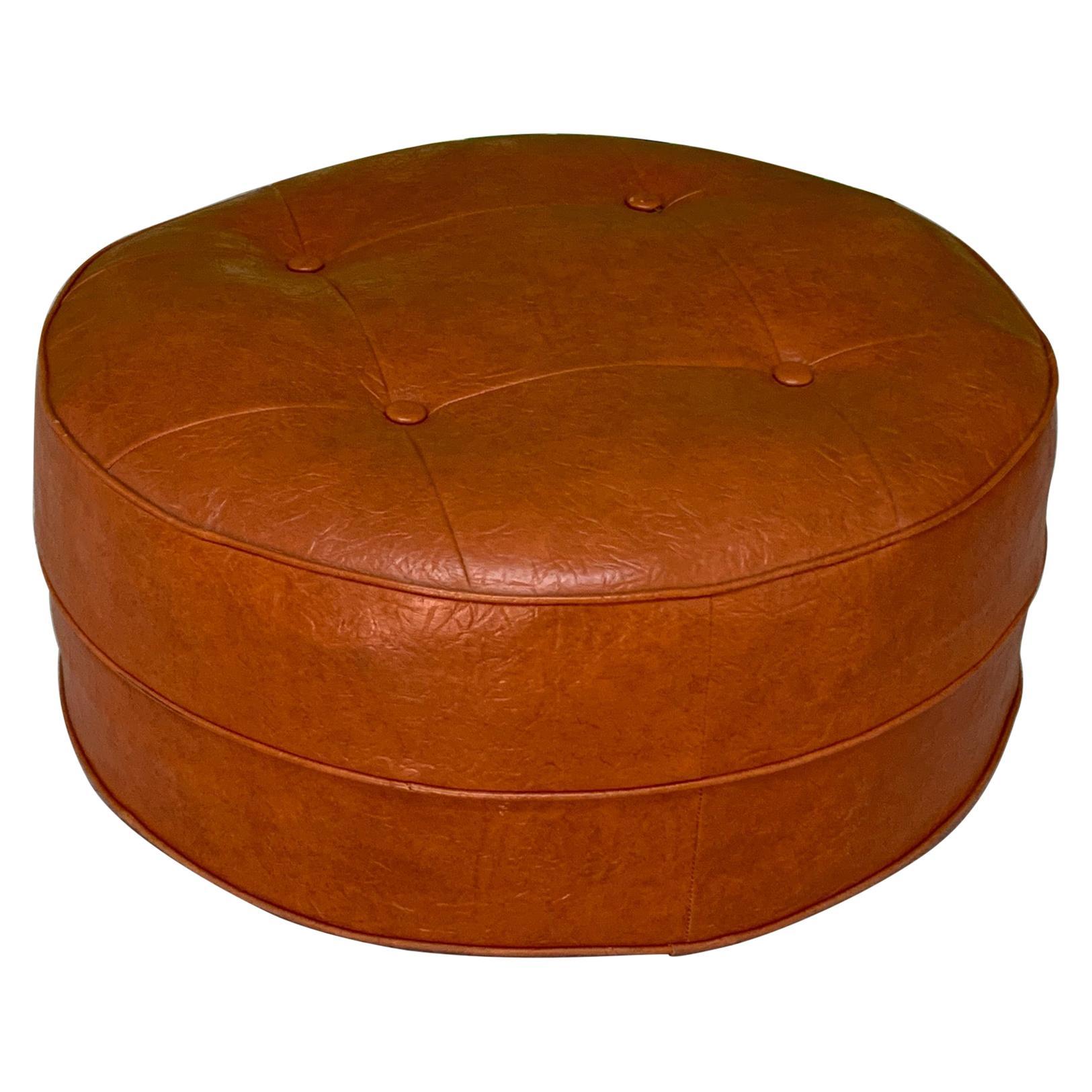 midcentury round hassock or footstool