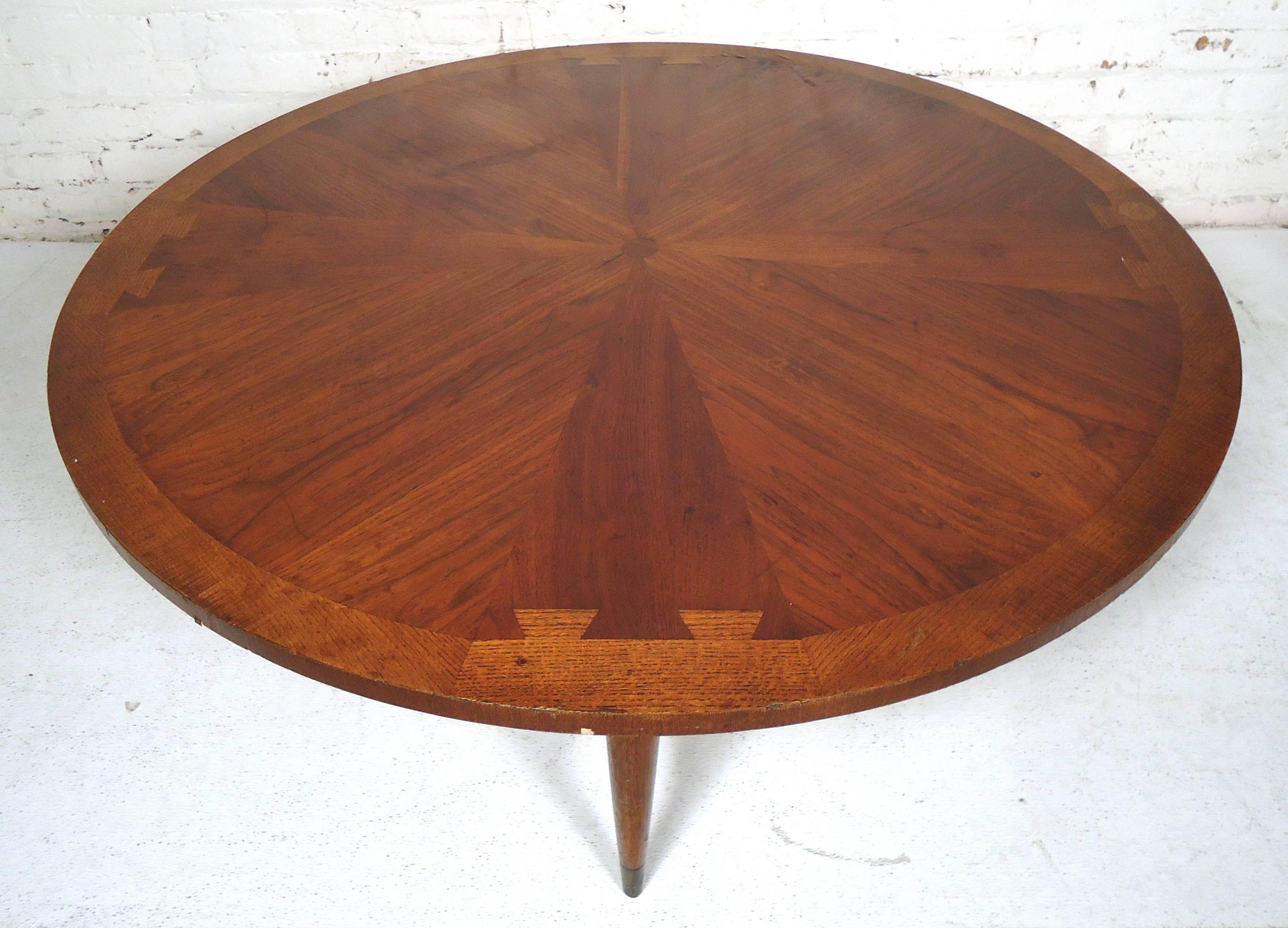midcentury round lane coffee table