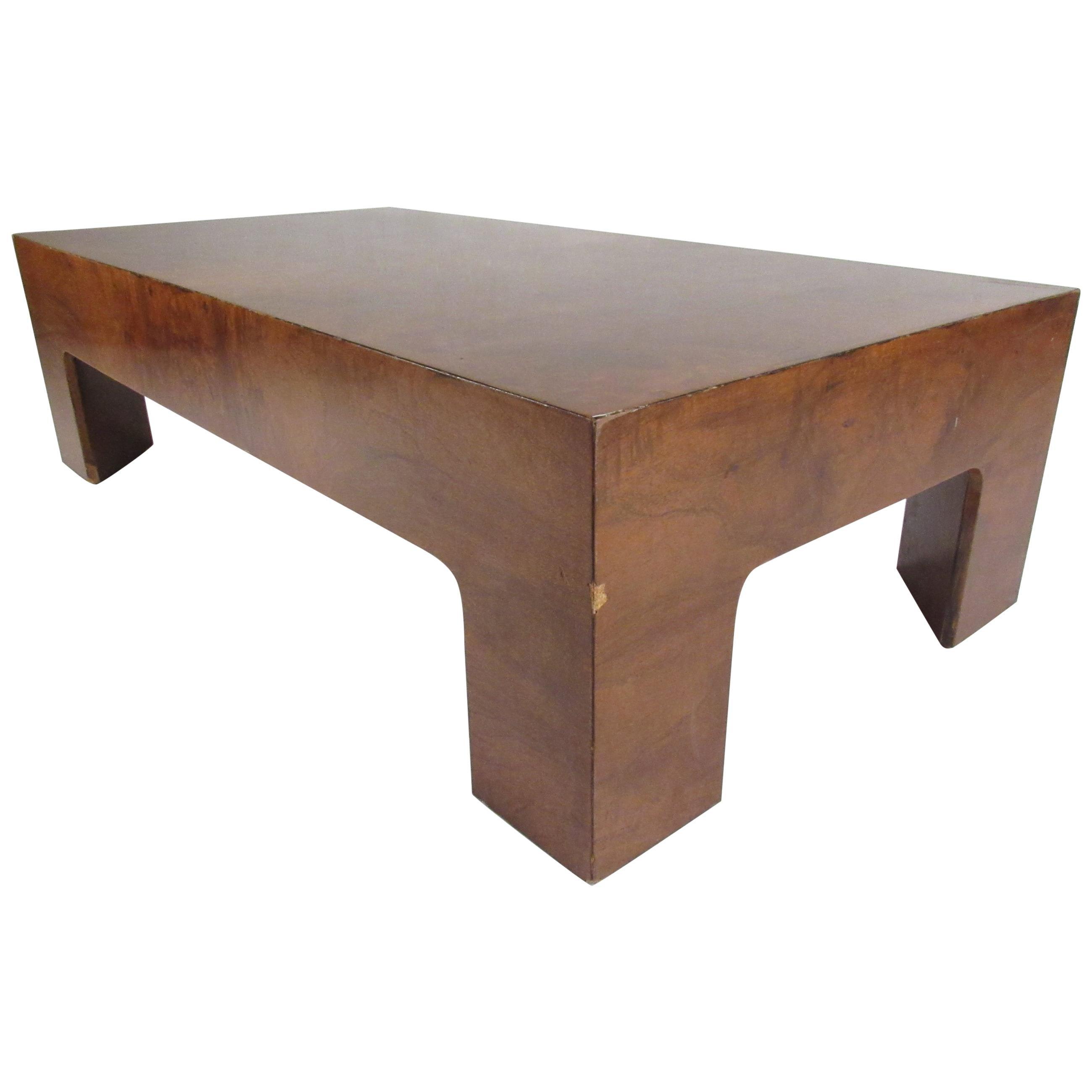 midcentury milo baughman style low burl wood coffee table