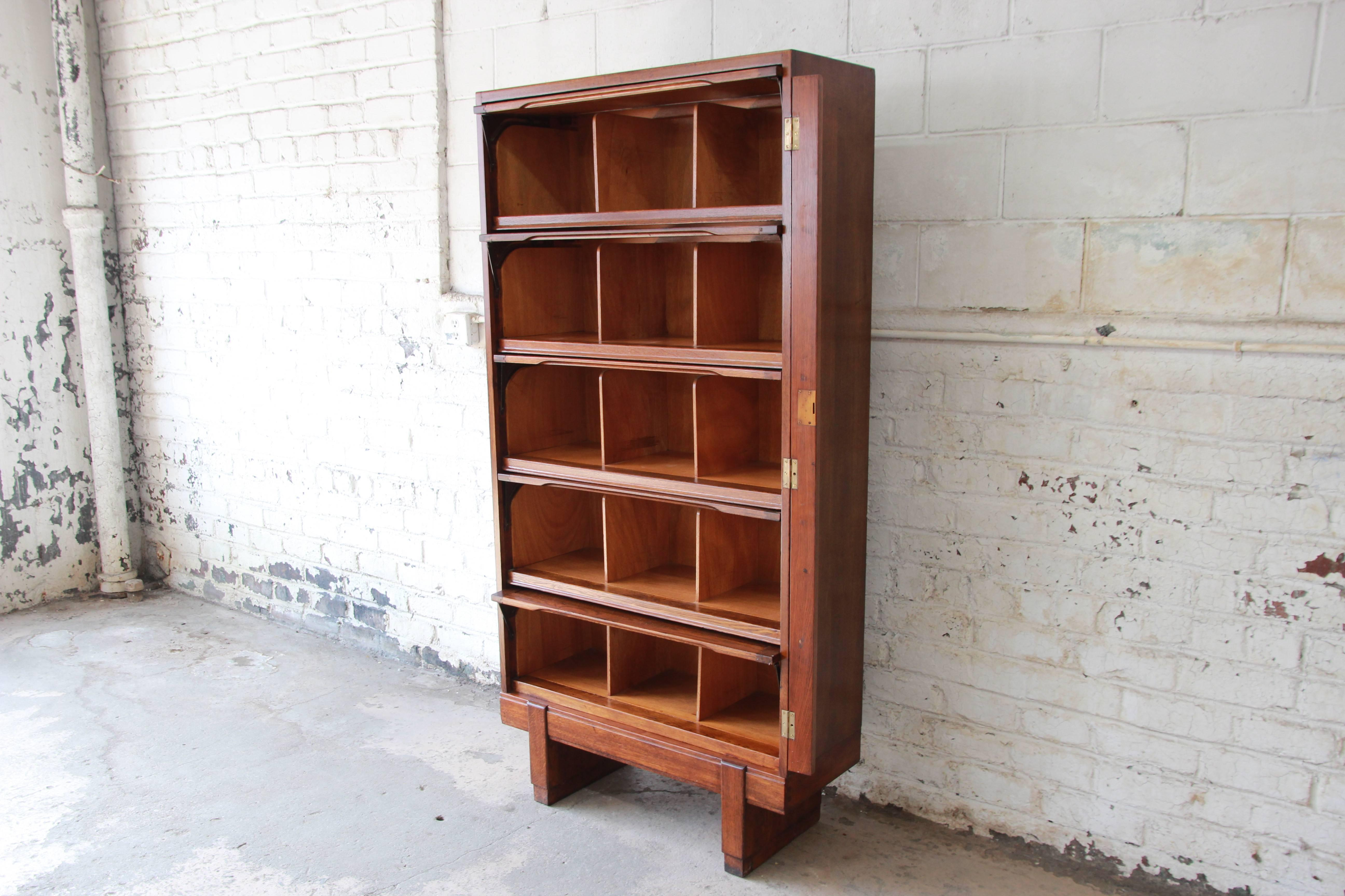 Midcentury Oak Barrister Bookcase 1950s