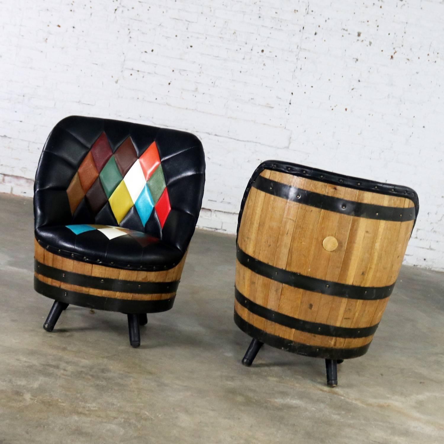 Midcentury Whiskey Barrel Swivel Barrel Chairs by Brothers
