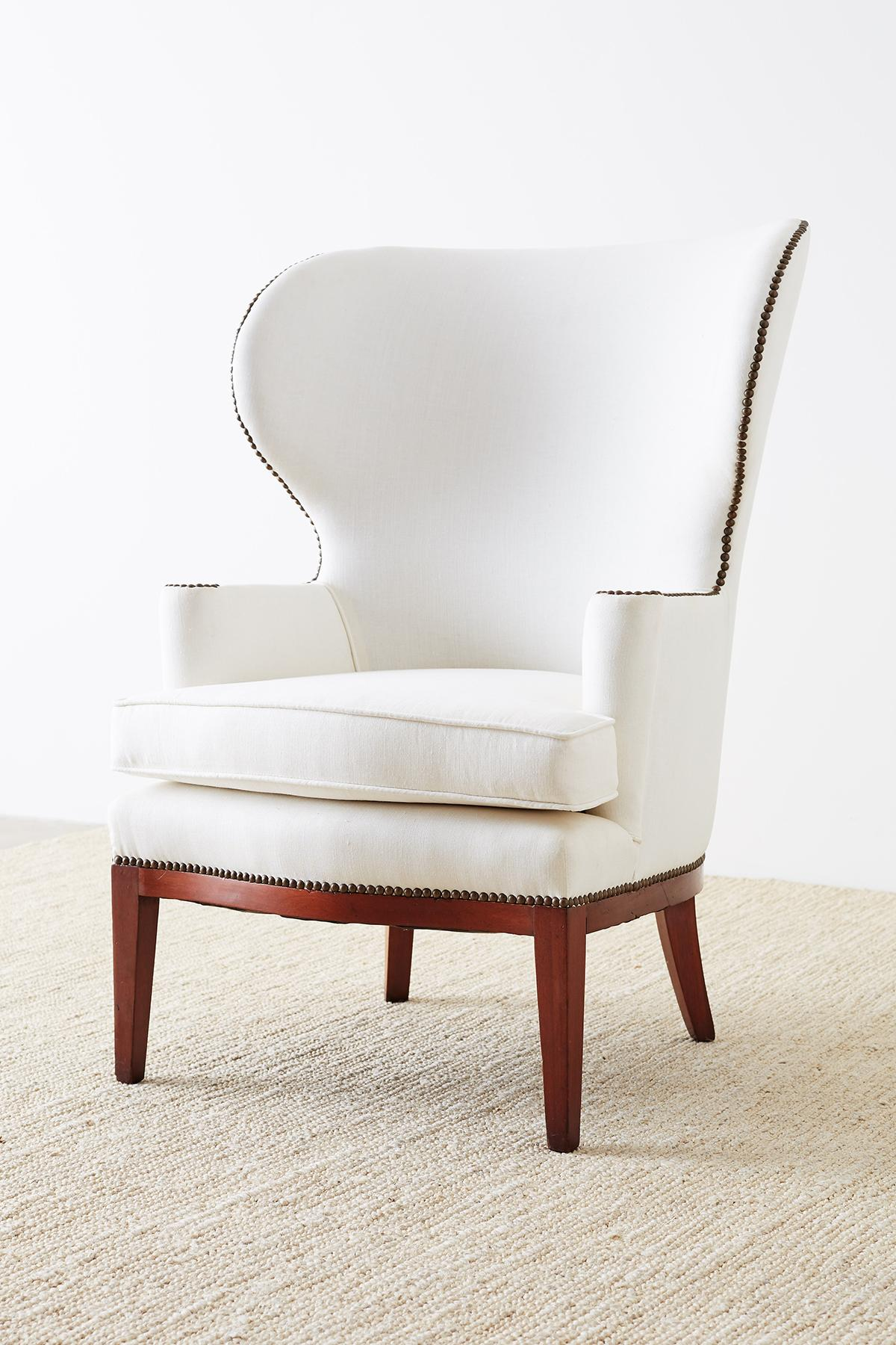 White Wing Chair Midcentury Wing Chair By Edward Wormley For Dunbar