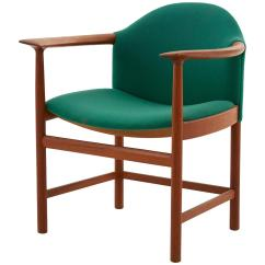 Dining Chair Upholstery Rocking Replacement Parts Midcentury Wood With Original Green Wool For Sale