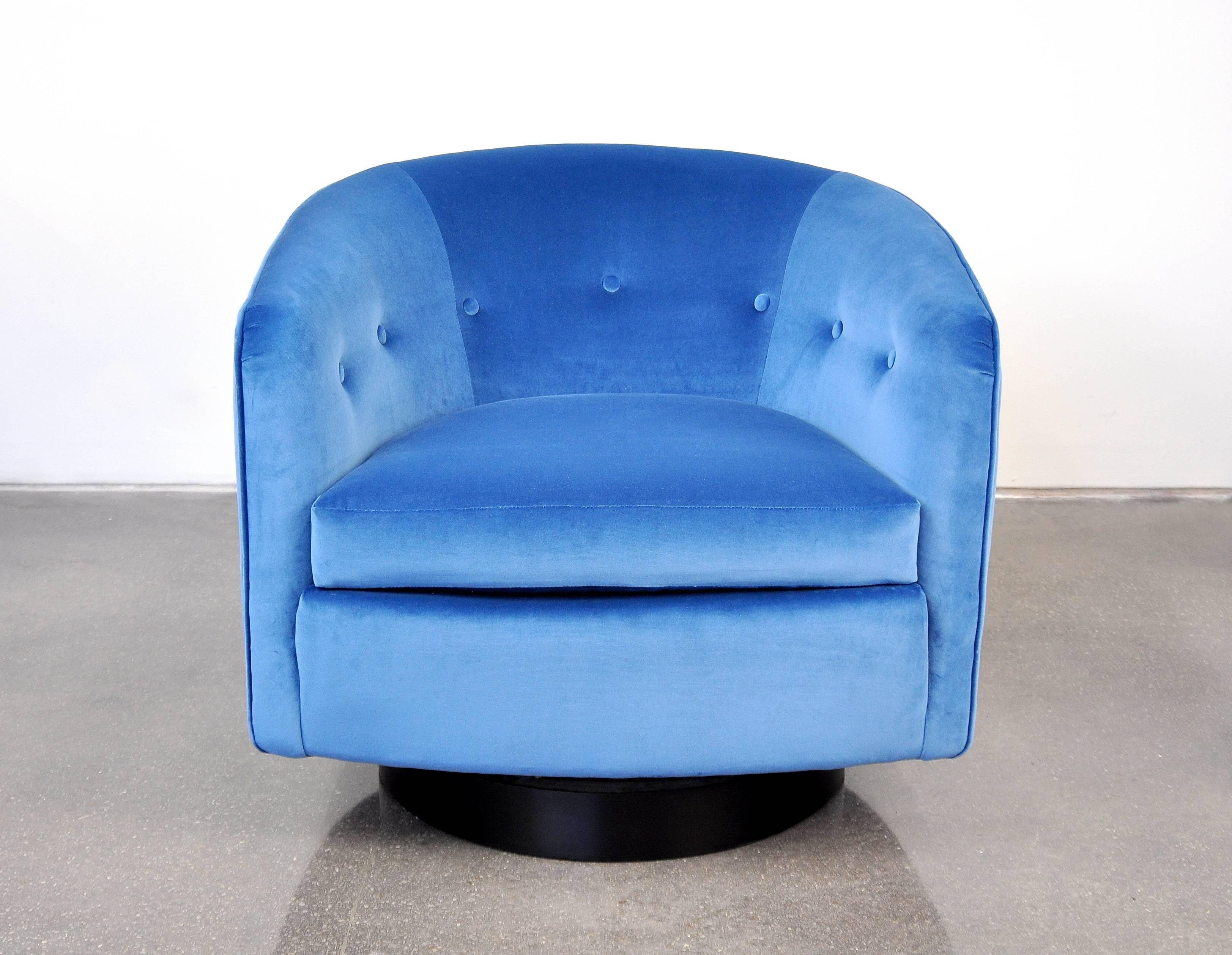 Milo Baughman for Thayer Coggin Light Blue Velvet Swivel
