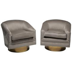 Swivel Chairs For Sale Table And Set Milo Baughman Style Brass Mid Century At 1stdibs