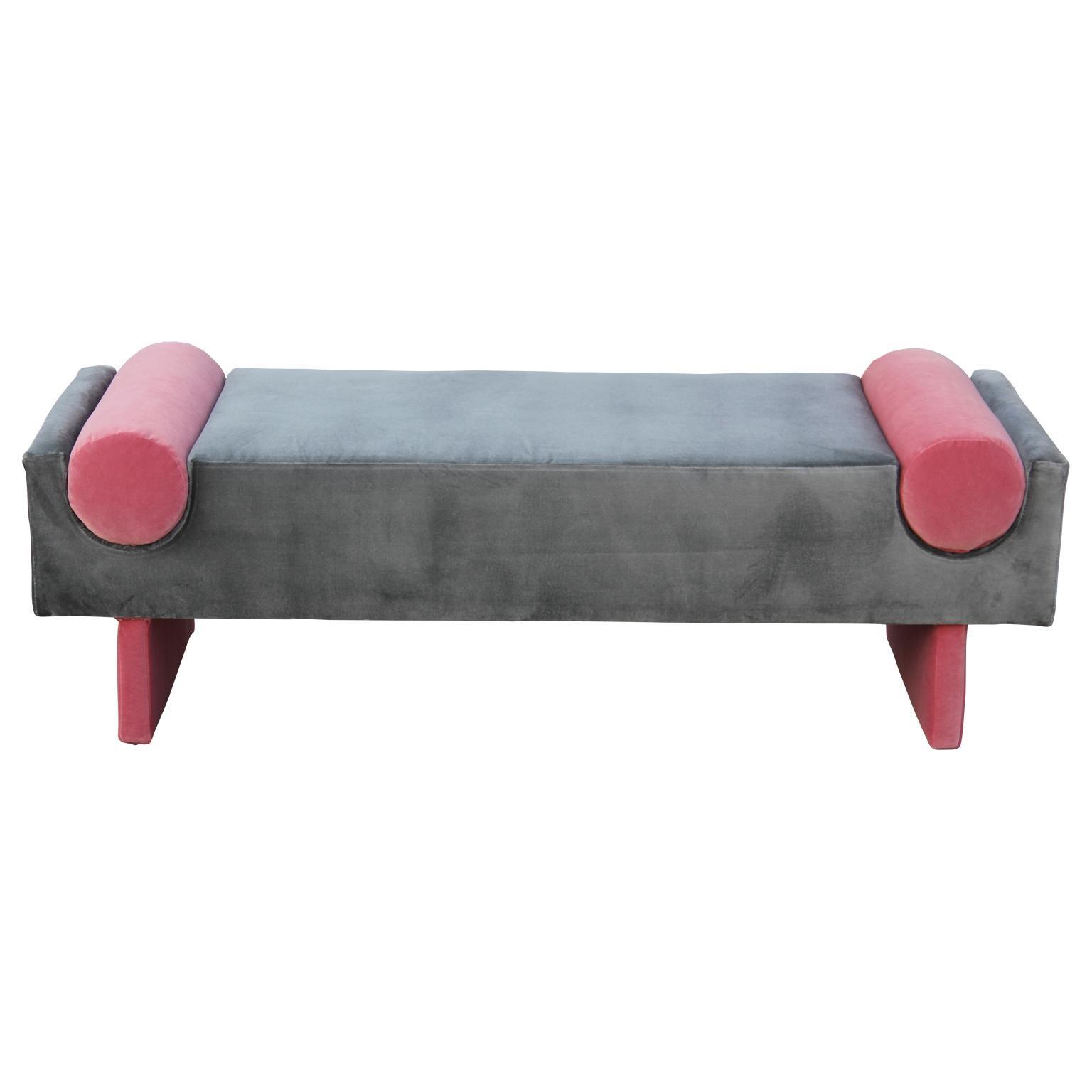 Modern Custom Bench In Dark Grey Velvet With Vibrant Pink Velvet Bolster Accents For Sale At 1stdibs