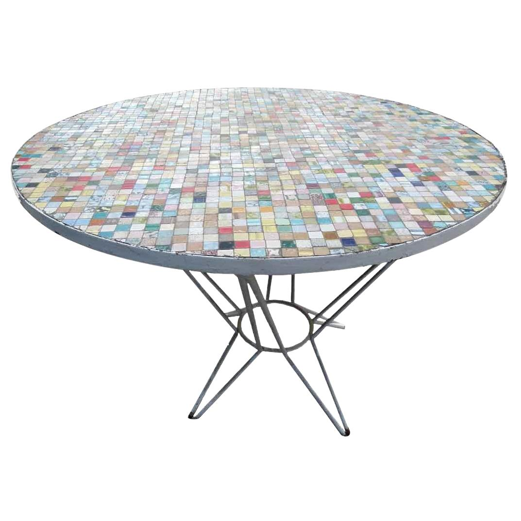 multi color round ceramic tile garden table with iron base