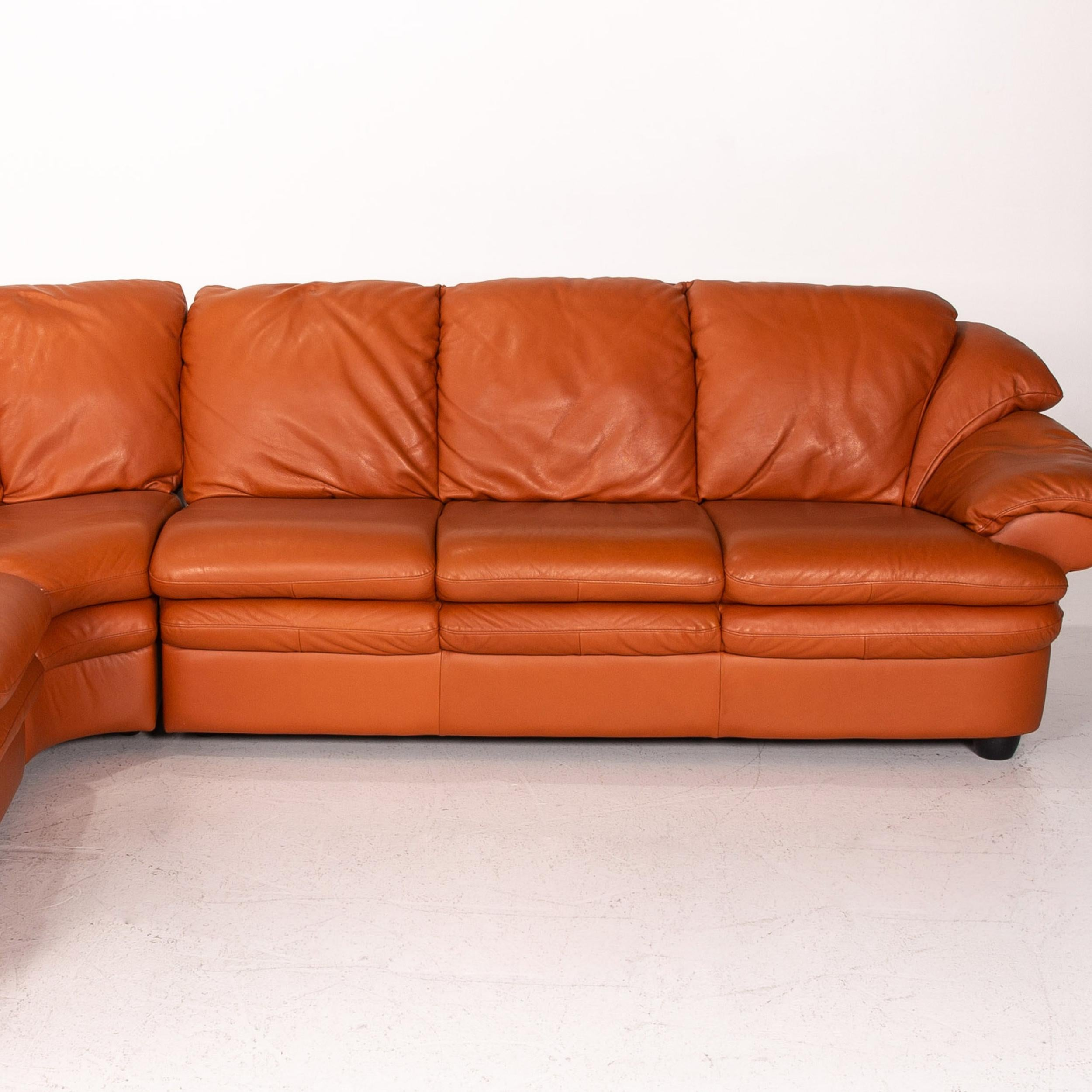 Picture of natuzzi italia algo taupe leather sofa with two electric reclining function. Natuzzi Leather Sofa Set Terracotta 1 Corner Sofa 1 Stool ...