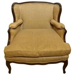 Oversized Upholstered Chair Break Room Table And Chairs Wingback Marquis In Burlap Carved Wood Details For Sale
