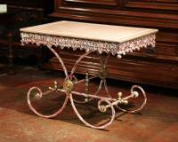 Painted French Iron Butcher or Pastry Table with Marble
