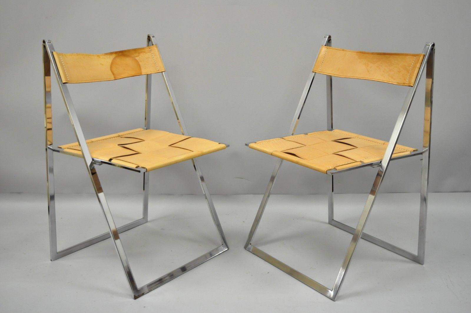 Collapsible Chair Pair Fontoni Geraci Elios Folding Chairs Italian Modern Chrome And Leather B