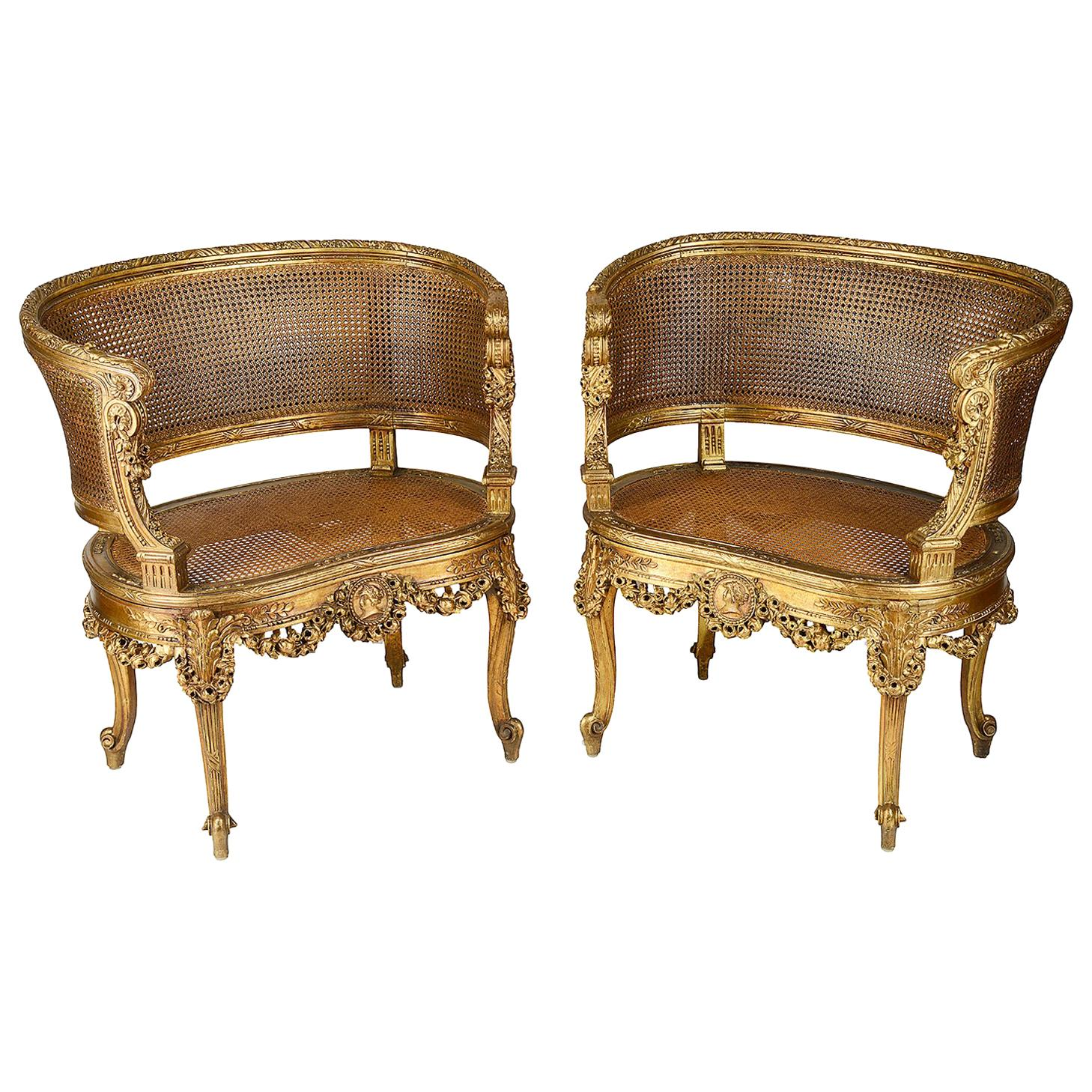 salon chairs for sale back support office south africa pair of 19th century french gilded at 1stdibs