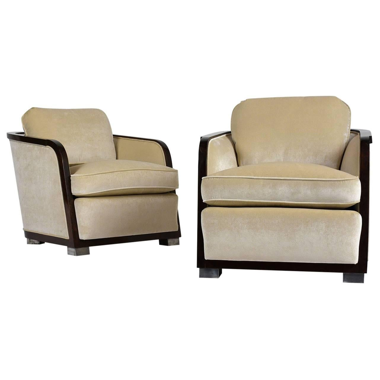 art deco style club chairs chair turns into bed pair of at 1stdibs for sale