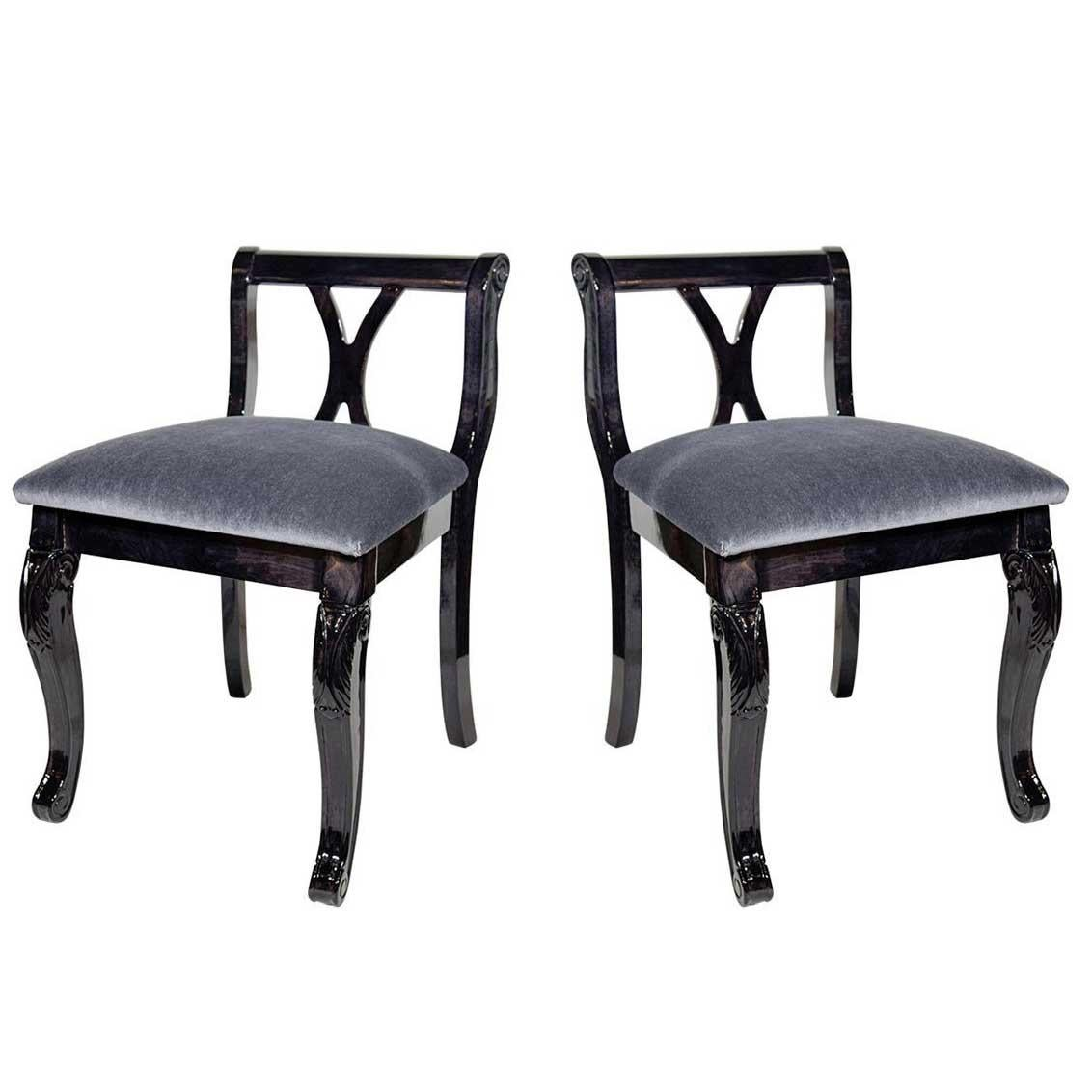 Vanity Chairs Pair Of Art Deco Vanity Chairs In Mohair And Ebonized Walnut