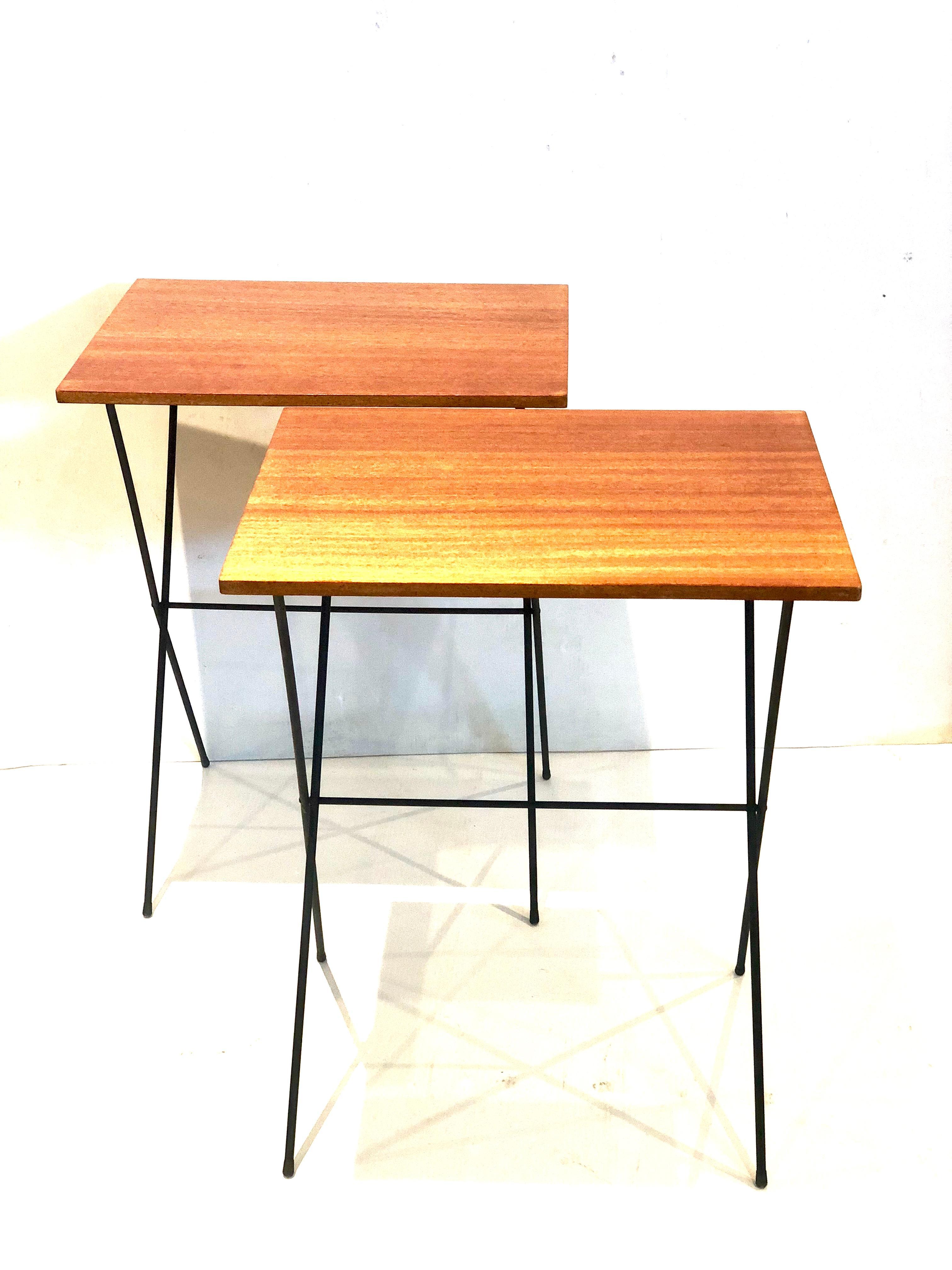 pair of atomic age mid century modern petite folding tv tray tables