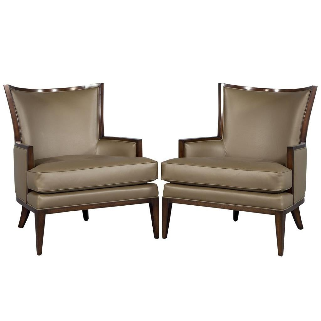 leather wingback chairs canada hon office costco antique for sale in 1stdibs pair of carrocel custom modern armchairs