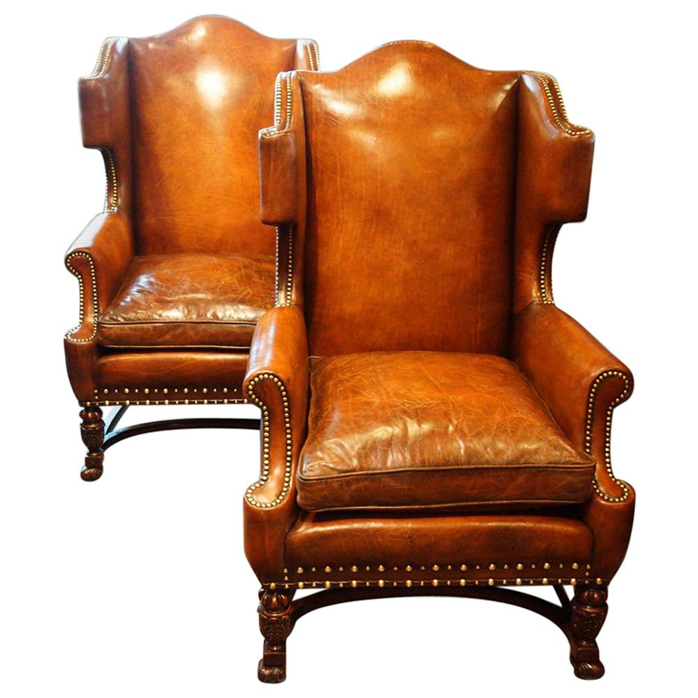 wing chairs on sale disposable folding chair covers bulk pair of carved oak and leather for at 1stdibs
