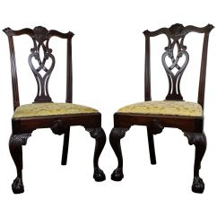 Chippendale Dining Chair Rocking Chairs Cracker Barrel Set Of Six Upholstered Mahogany Style Ball And Claw Pair