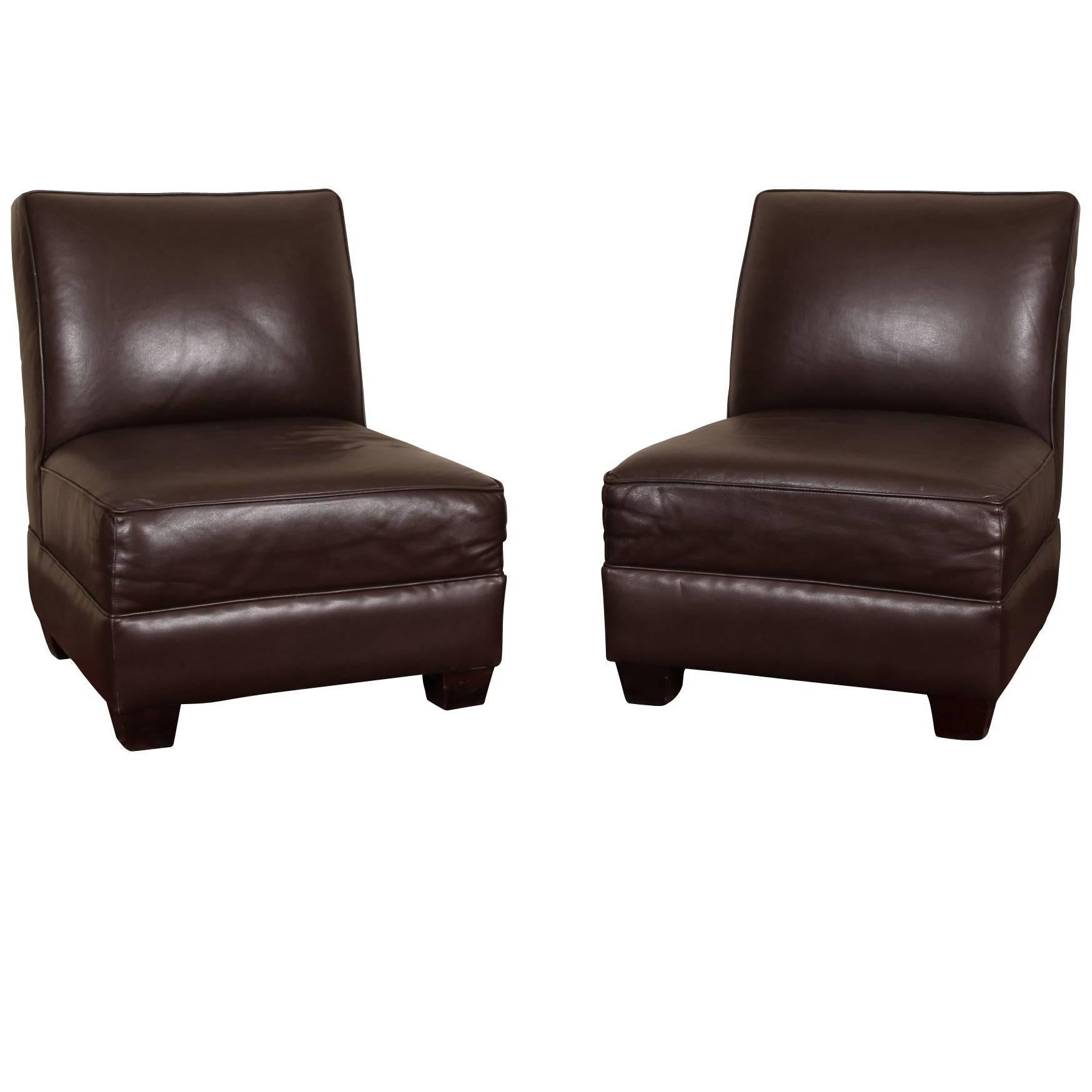 brown slipper chair to relieve back pain pair of chocolate leather chairs for sale at 1stdibs