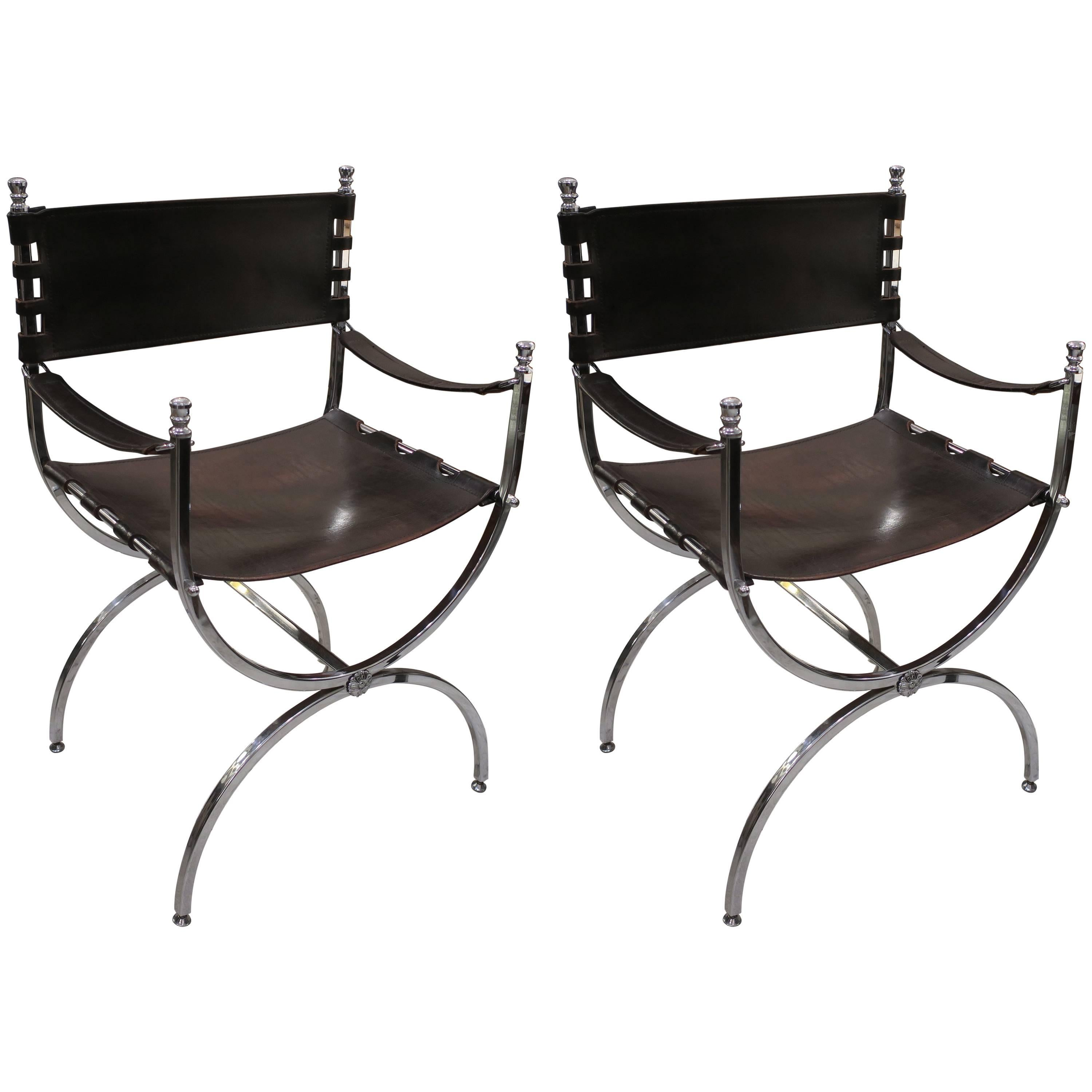 leather directors chair for makeup pair of chrome and chairs attributed to maison jansen sale