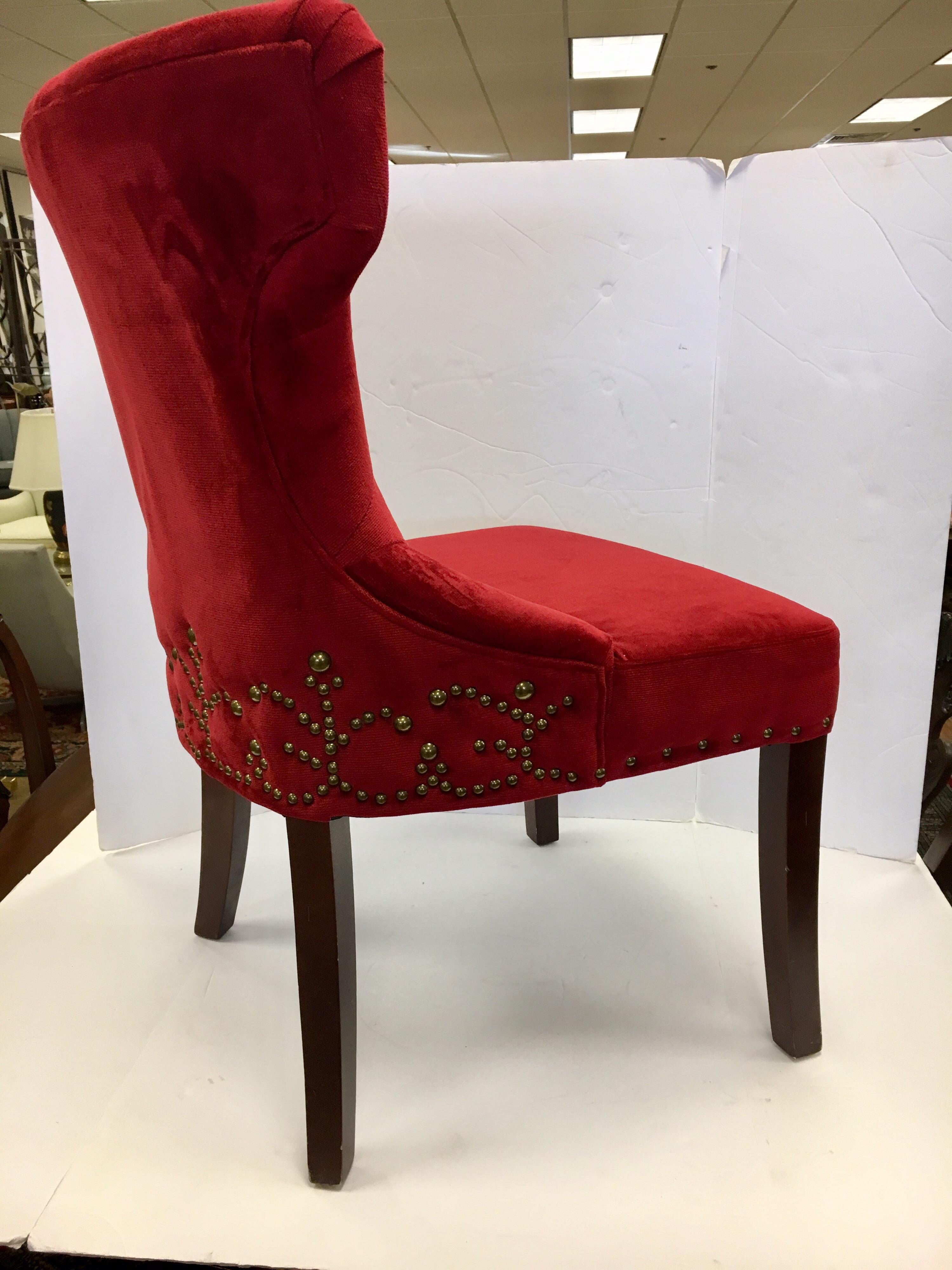 red tufted dining chair dark green recliner pair of custom upholstered nailhead chairs for sale at 1stdibs