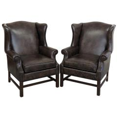 Ethan Allen Wingback Chairs Dining Room Cherry Wood Pair Of Leather For Sale At 1stdibs
