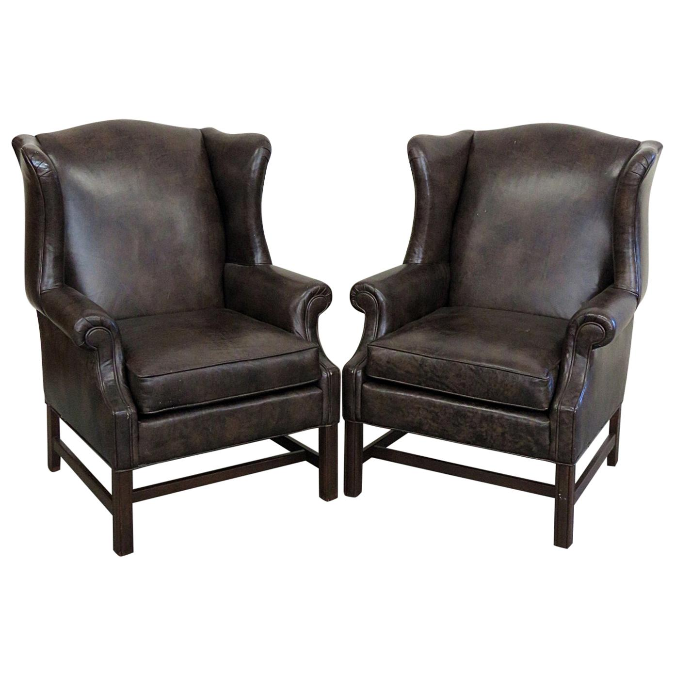 Ethan Allen Club Chairs Pair Of Ethan Allen Leather Wingback Chairs
