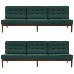 Armless Sofas Dino Corner Sofa Reviews Pair Of Florence Knoll Walnut Frames And Original Green Fabric For Sale