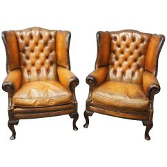 Wing Chairs On Sale X Rocker Gaming Uk Pair Of Georgian Style Tan Leather For At 1stdibs