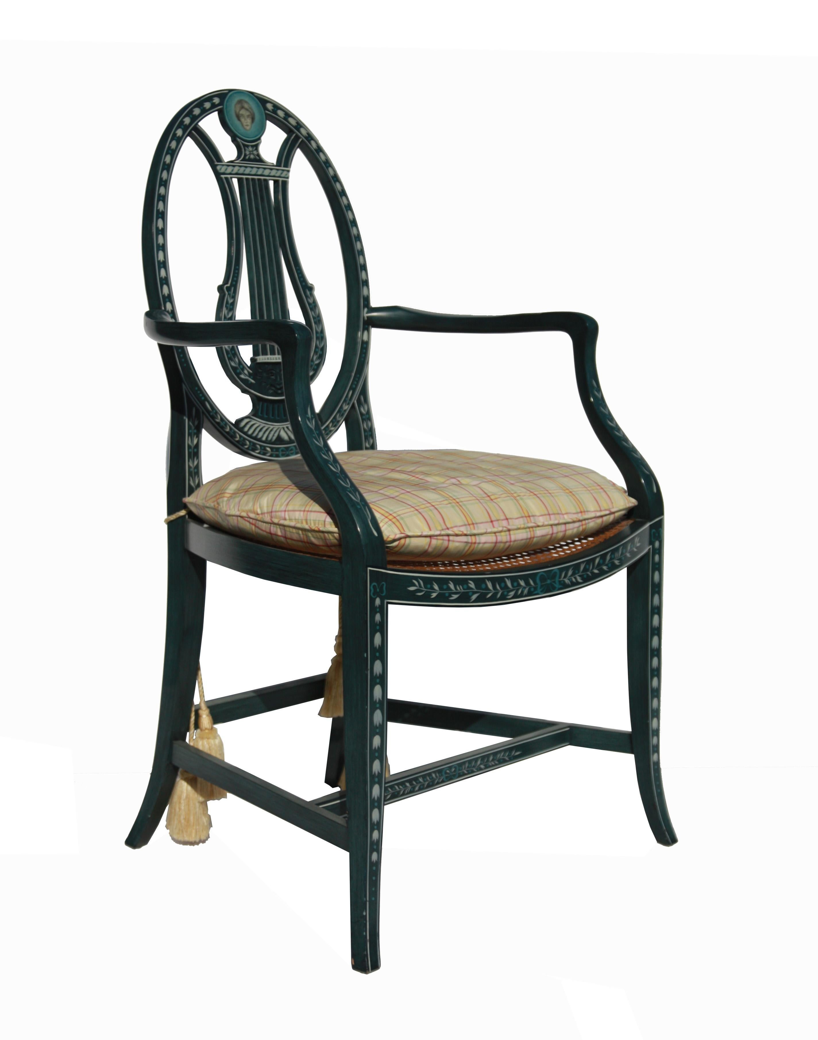 Pair Of Hand Painted Lyre Back Baker Furniture Chairs For