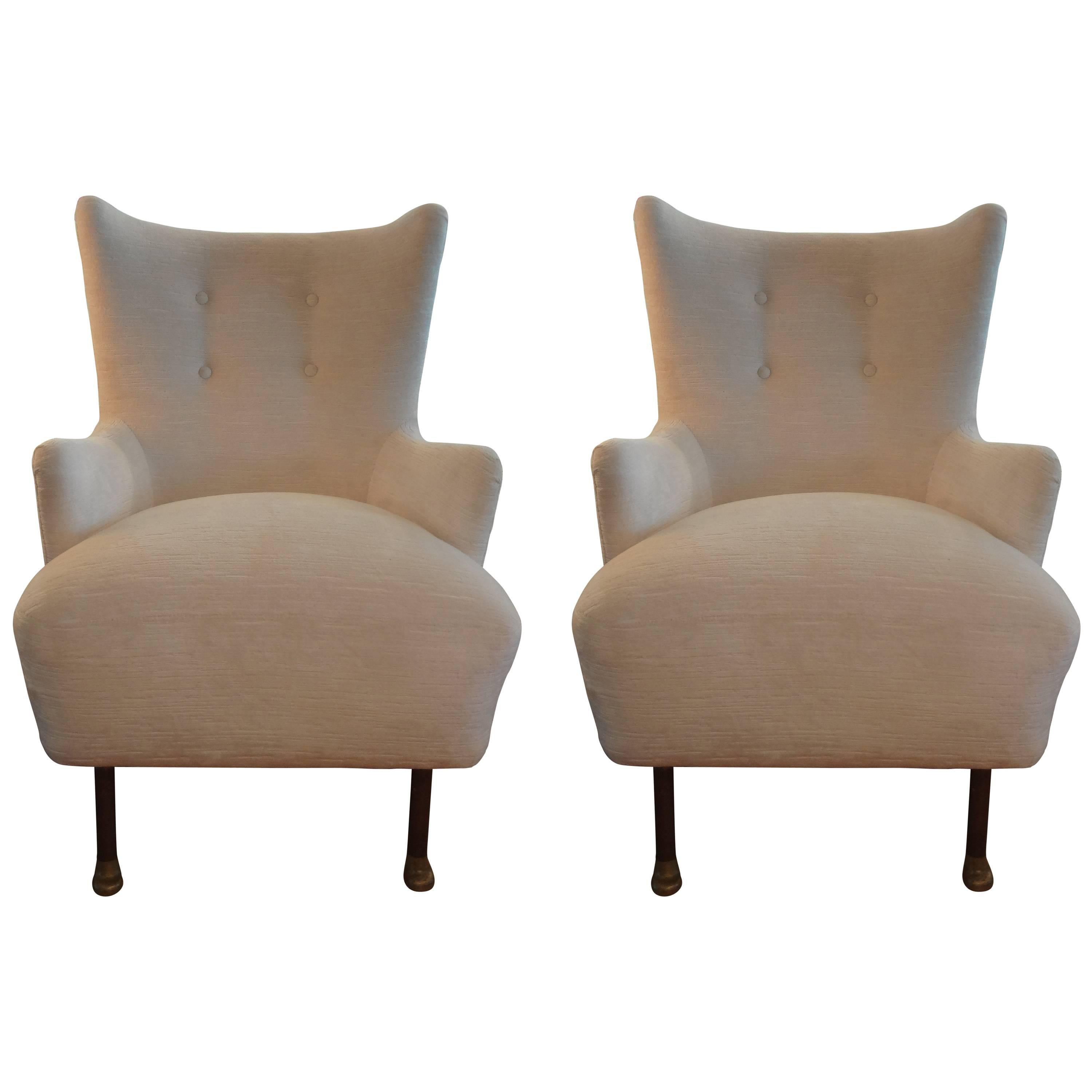 unusual chair legs stand nz pair of italian paolo buffa attributed lounge chairs with bronze for sale