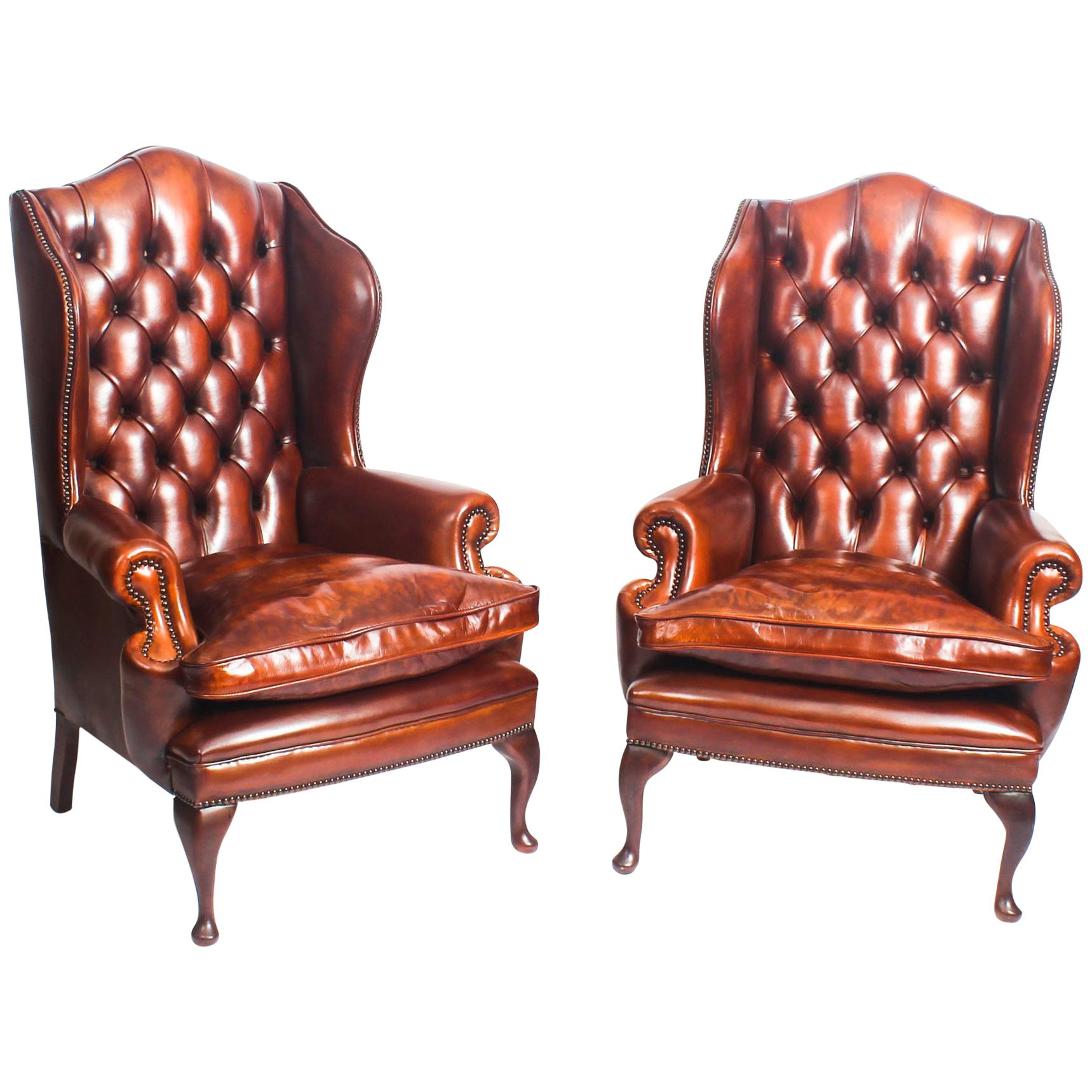 queen anne wingback chair leather classroom organizer covers bespoke pair of armchairs burnt amber for sale