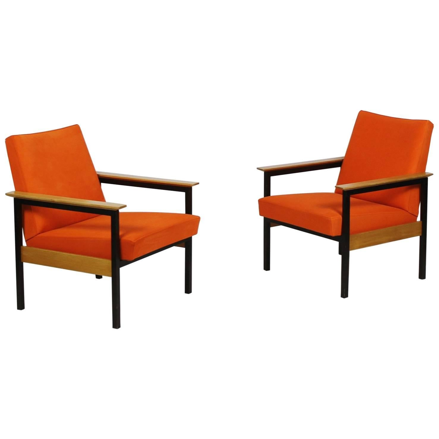leather armchair metal frame red chair covers wedding pair of framed armchairs with wooden armrests switzerland 1960s for sale