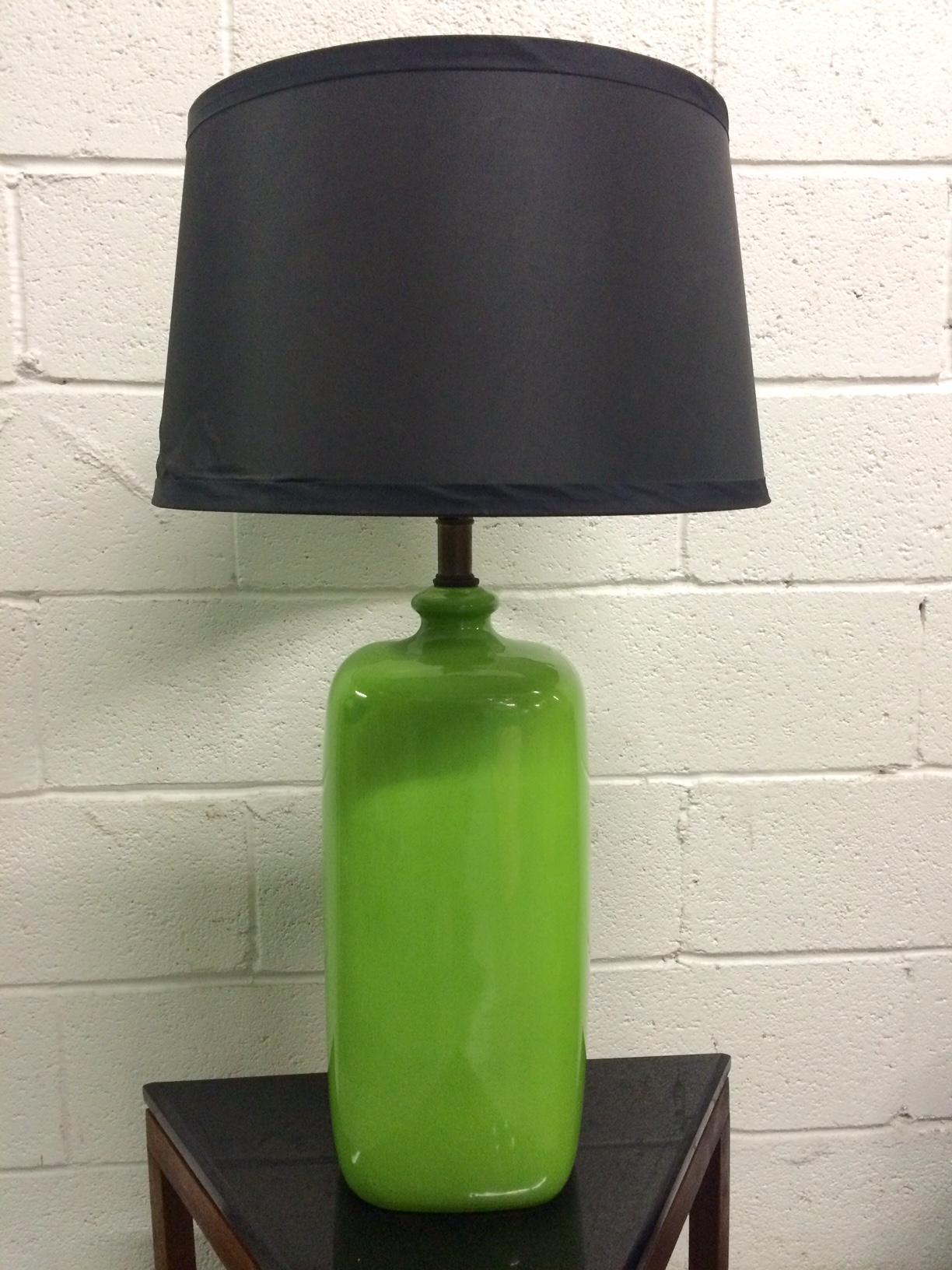 Pair Of Mid Century Modern Green Ceramic Lamps
