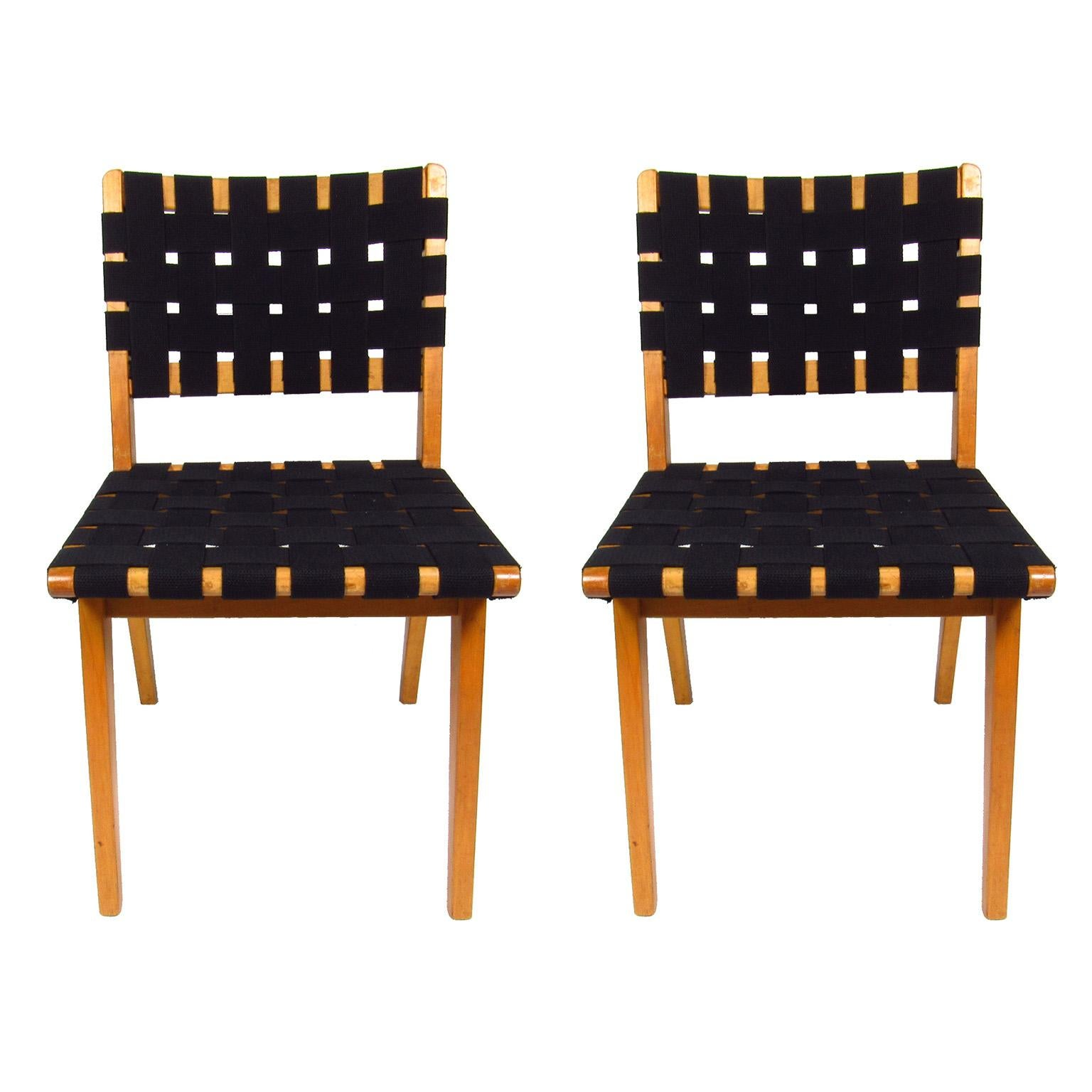 fabric side chairs hydraulic chair base pair of mid century modern jen rinsom birch and webbed for sale