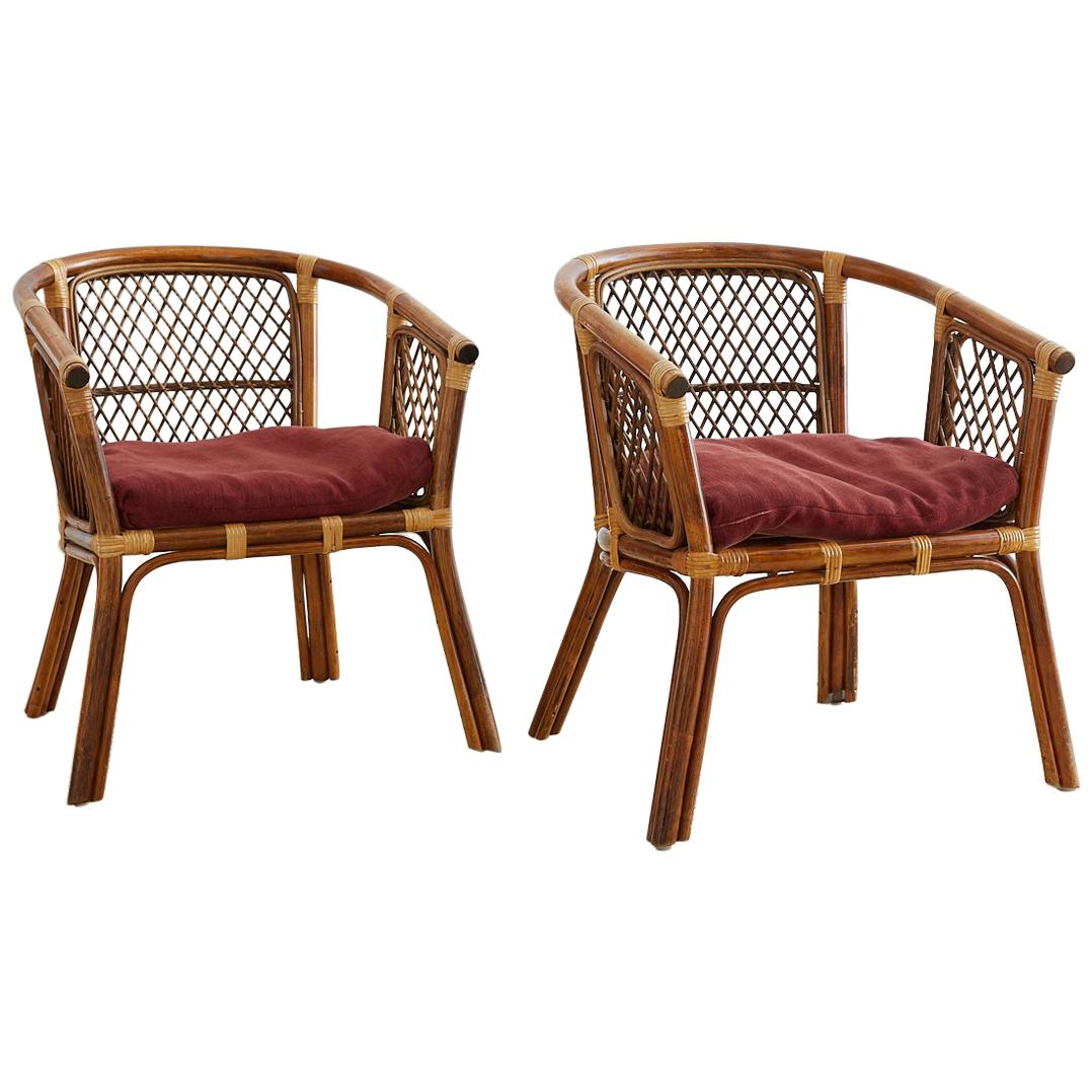 mid century cane barrel chair human scale freedom pair of midcentury bamboo rattan chairs for sale at 1stdibs