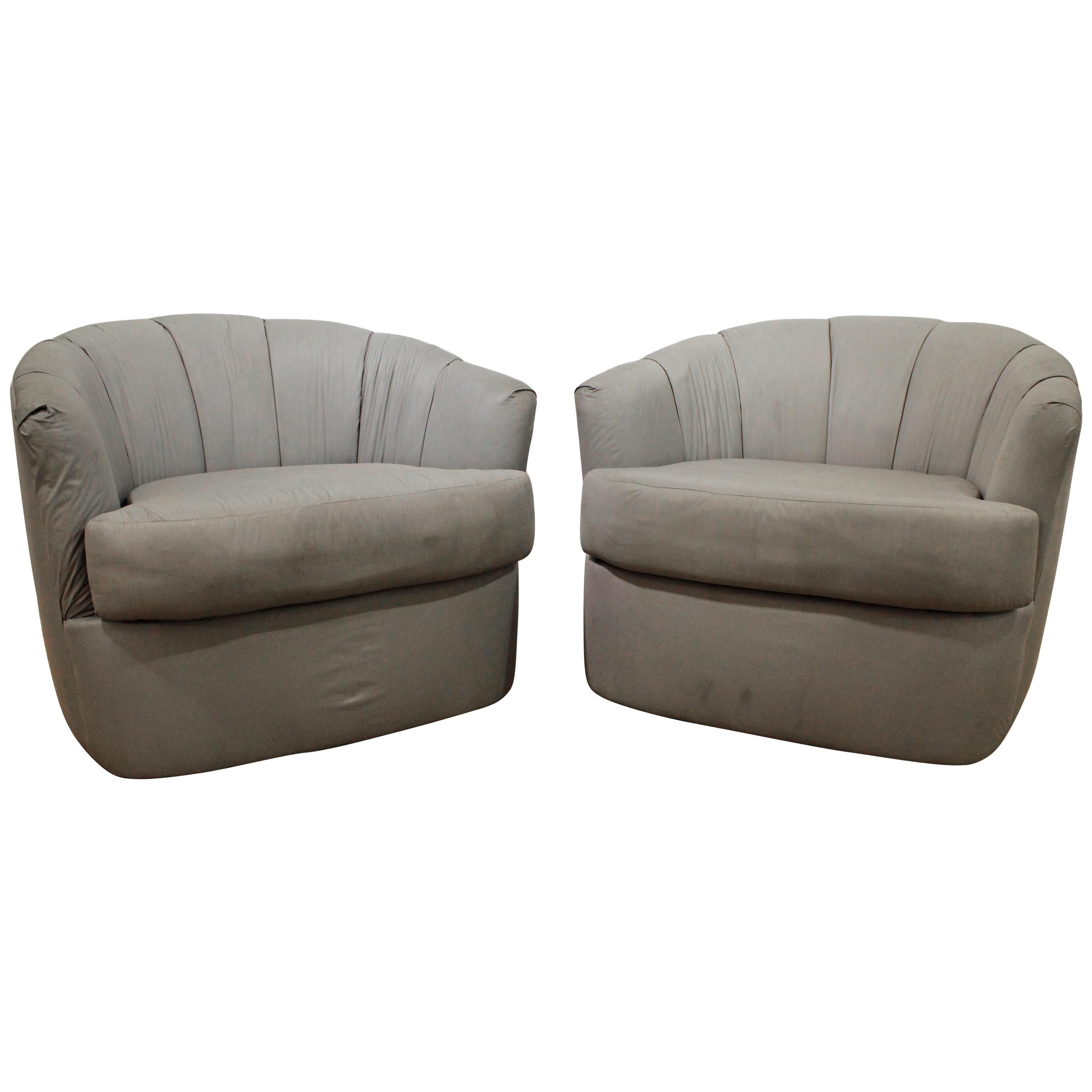 Swivel Tub Chair Pair Of Milo Baughman Swivel Tub Chairs With Brown Laminate And Original Fabric