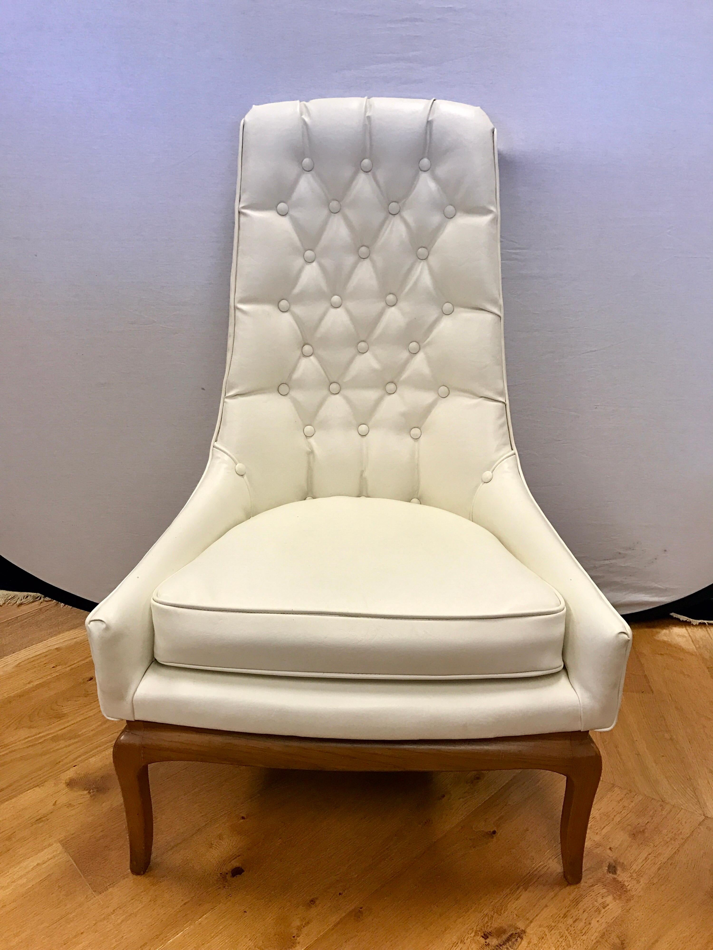white tufted chair sideline chairs for soccer pair of midcentury widdicomb robsjohn gibbings quilted mid century modern tall