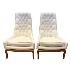 White Tufted Chairs One And Half Chair With Ottoman Pair Of Midcentury Widdicomb Robsjohn Gibbings Quilted Tall For Sale