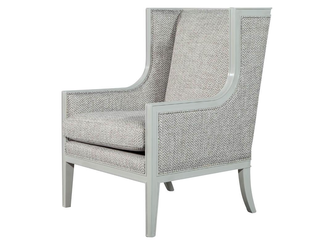 Modern Wing Chair Pair Of Modern Wing Chairs In Designer Grey By Carrocel