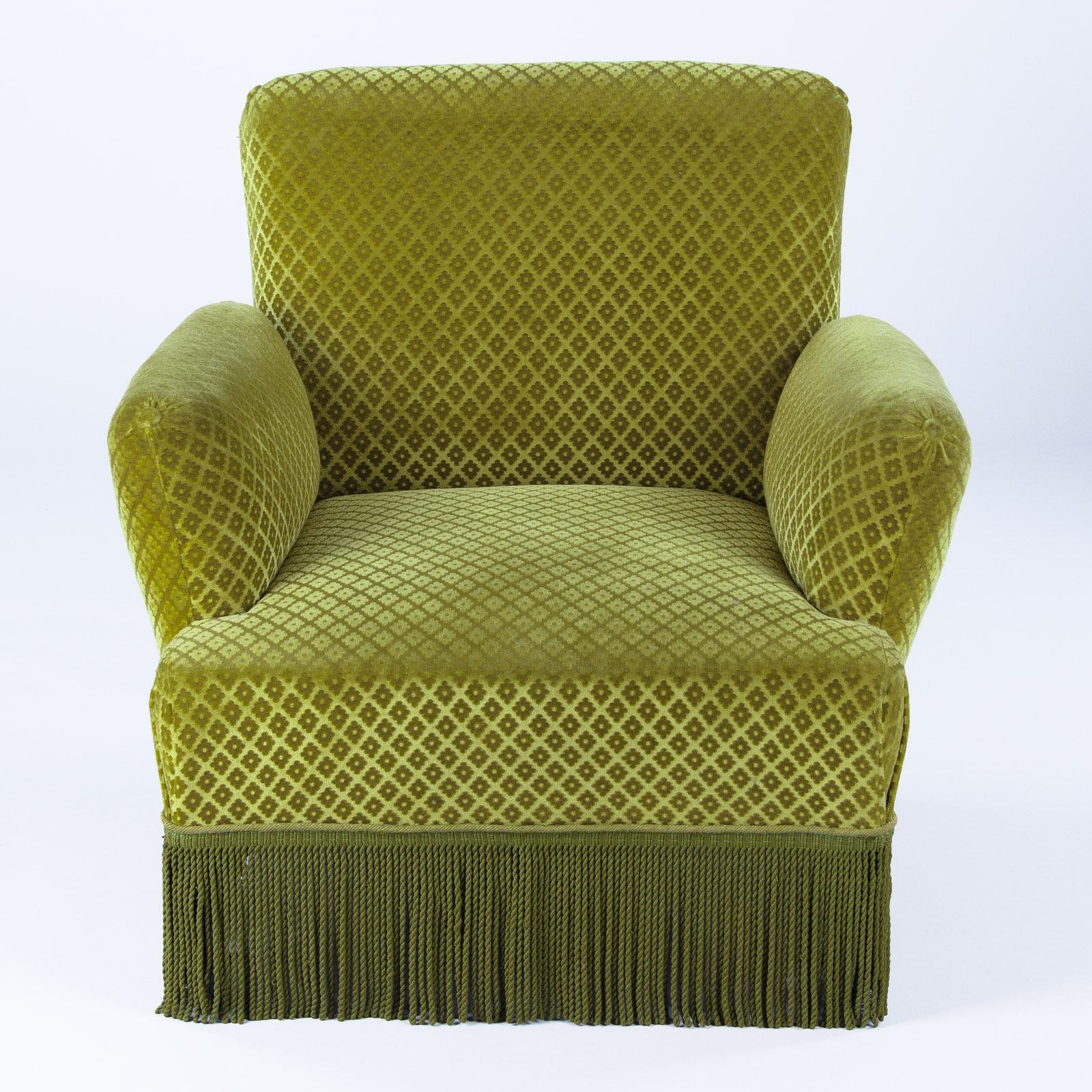Overstuffed Armchairs For Sale Pair Of Napoleon Iii Style Green Upholstered Armchairs