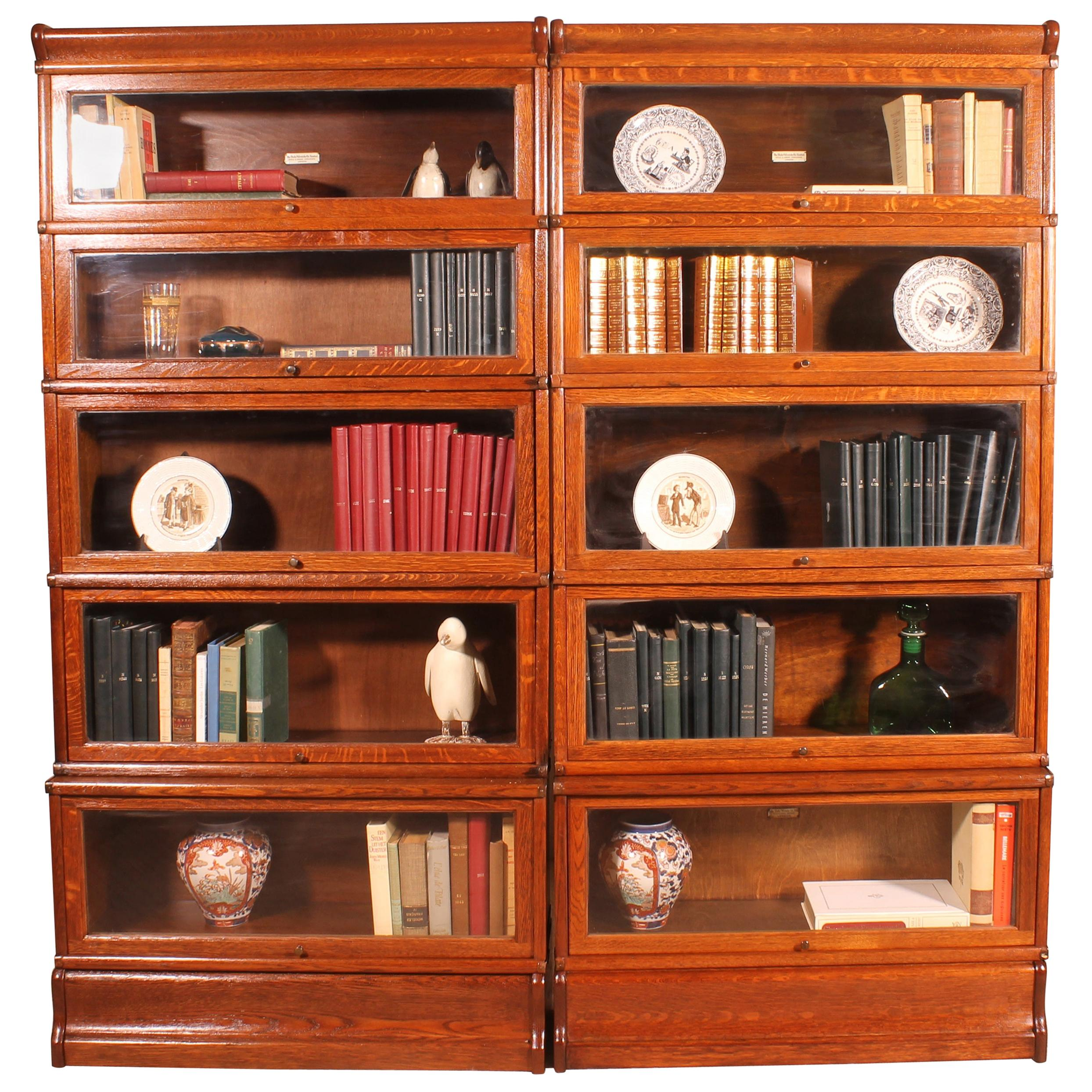 Pair Of Oak Stacking Bookcase Globe Wernicke